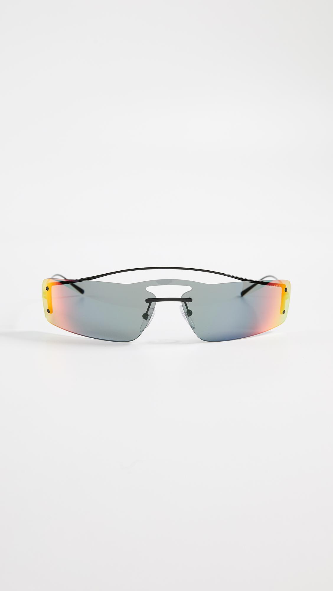 0611807d04 Prada. Women s Pr 61vs Runway Rainbow 90 s Skinny Rectangle Sunglasses