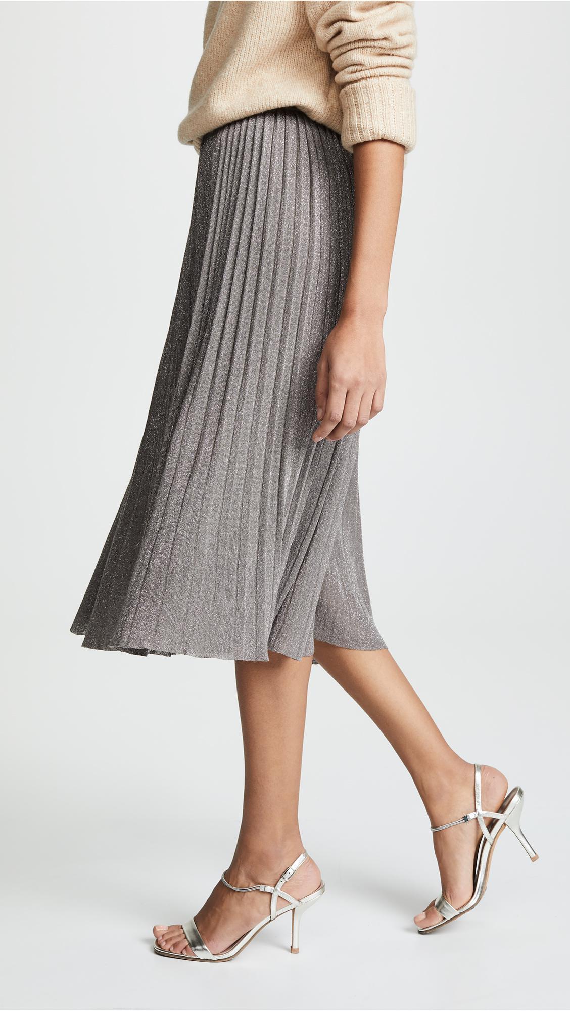 200c51ce7f Club Monaco Tilli Pleated Metallic Pull-on Skirt in Gray - Lyst