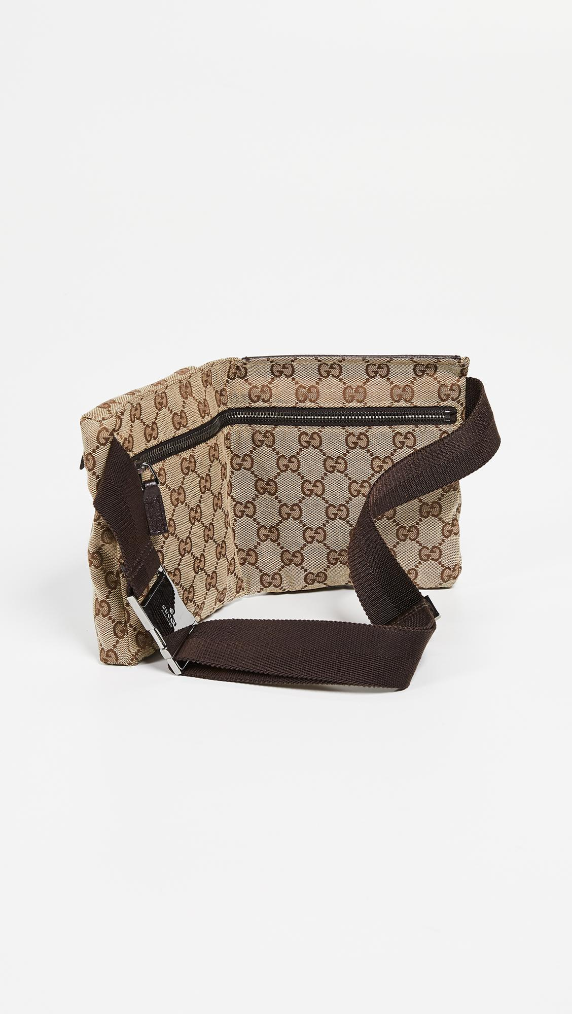 81635cc2d4c0 What Goes Around Comes Around - Gucci Brown Coated Canvas Waist Pouch -  Lyst. View fullscreen