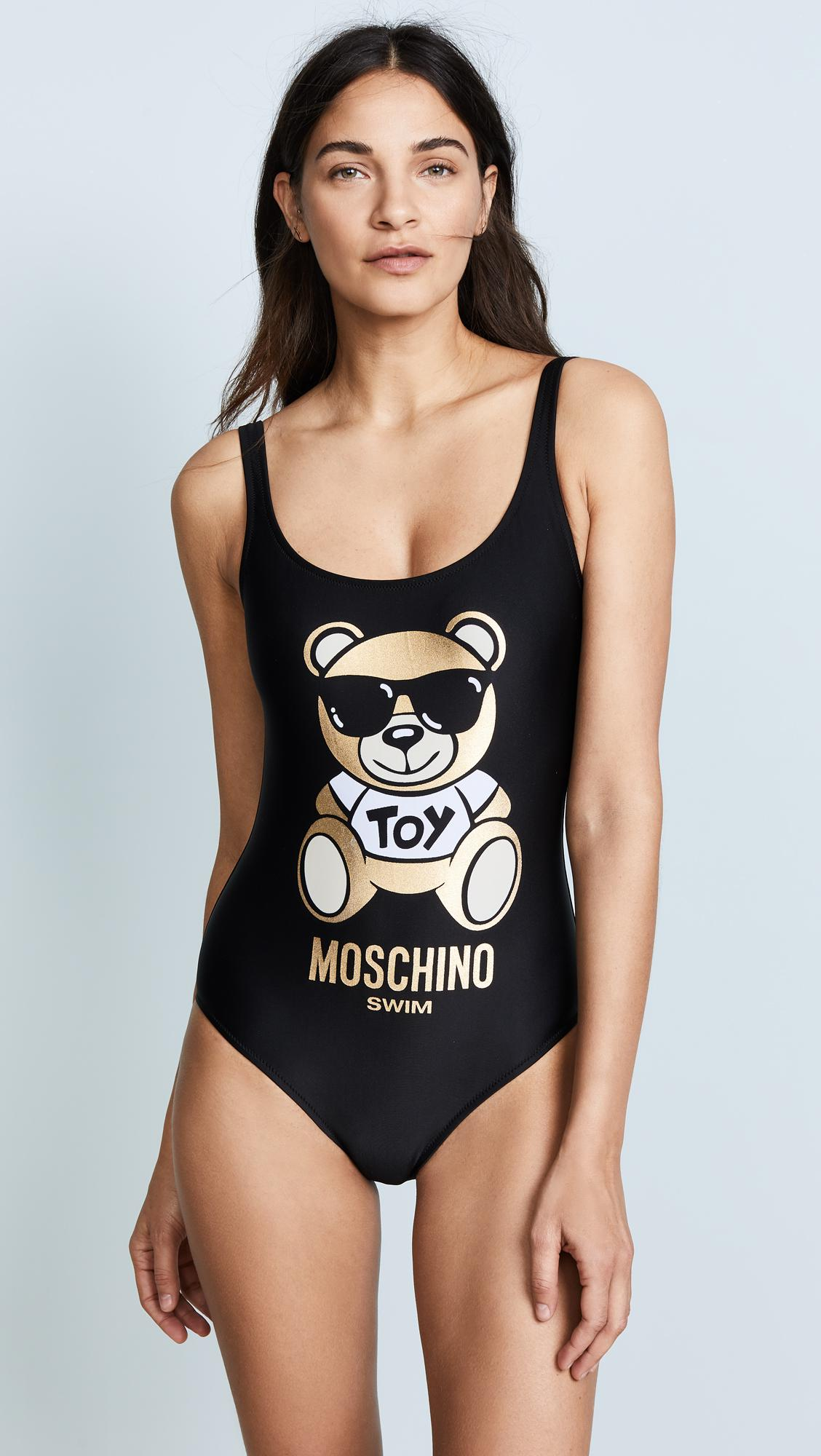 a43692a7d26231 Moschino Toy Bear Graphic Swimsuit in Black - Lyst