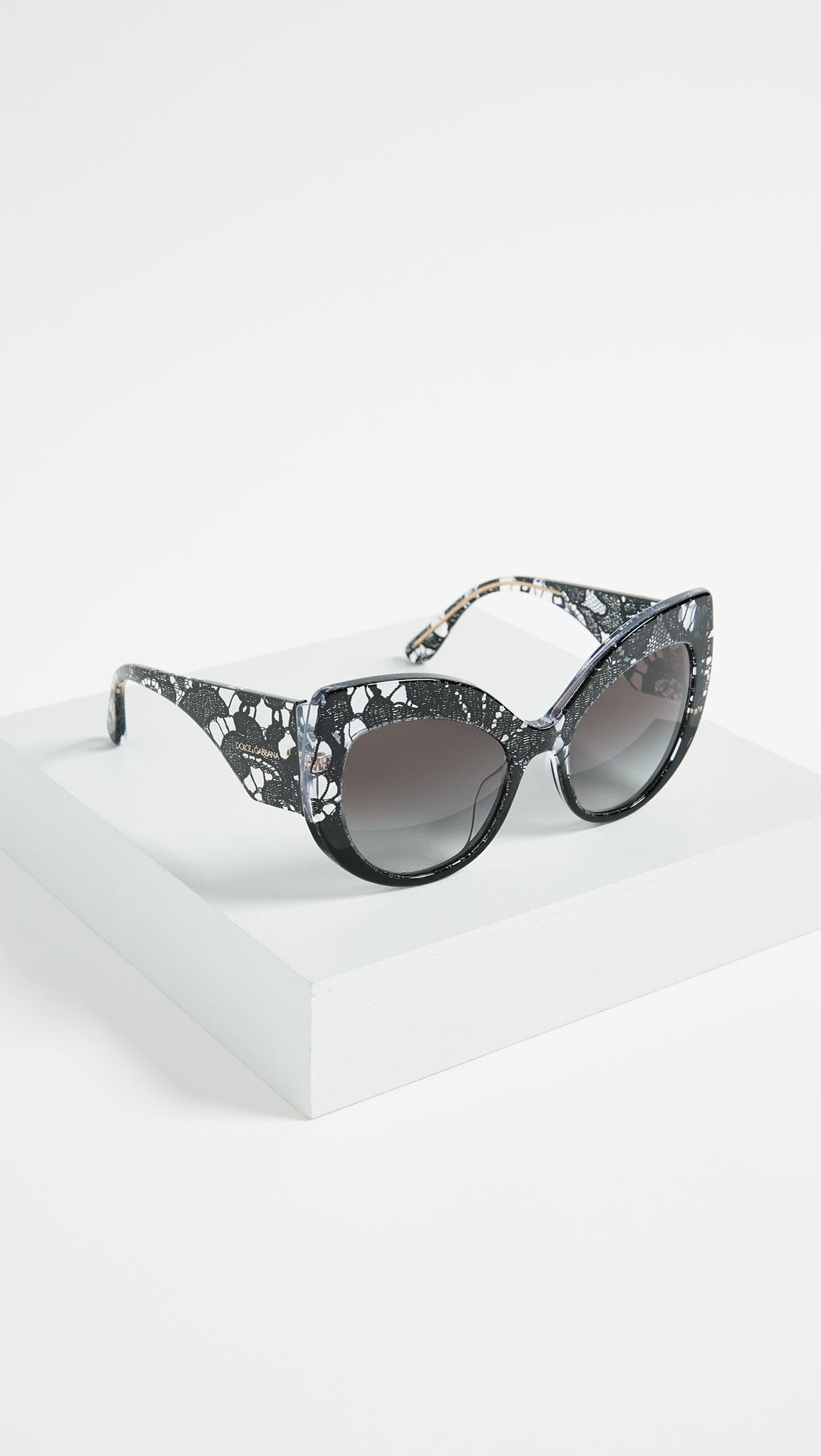 004779c337aa Lyst - Dolce   Gabbana Lace Ortensia Extreme Cat Sunglasses