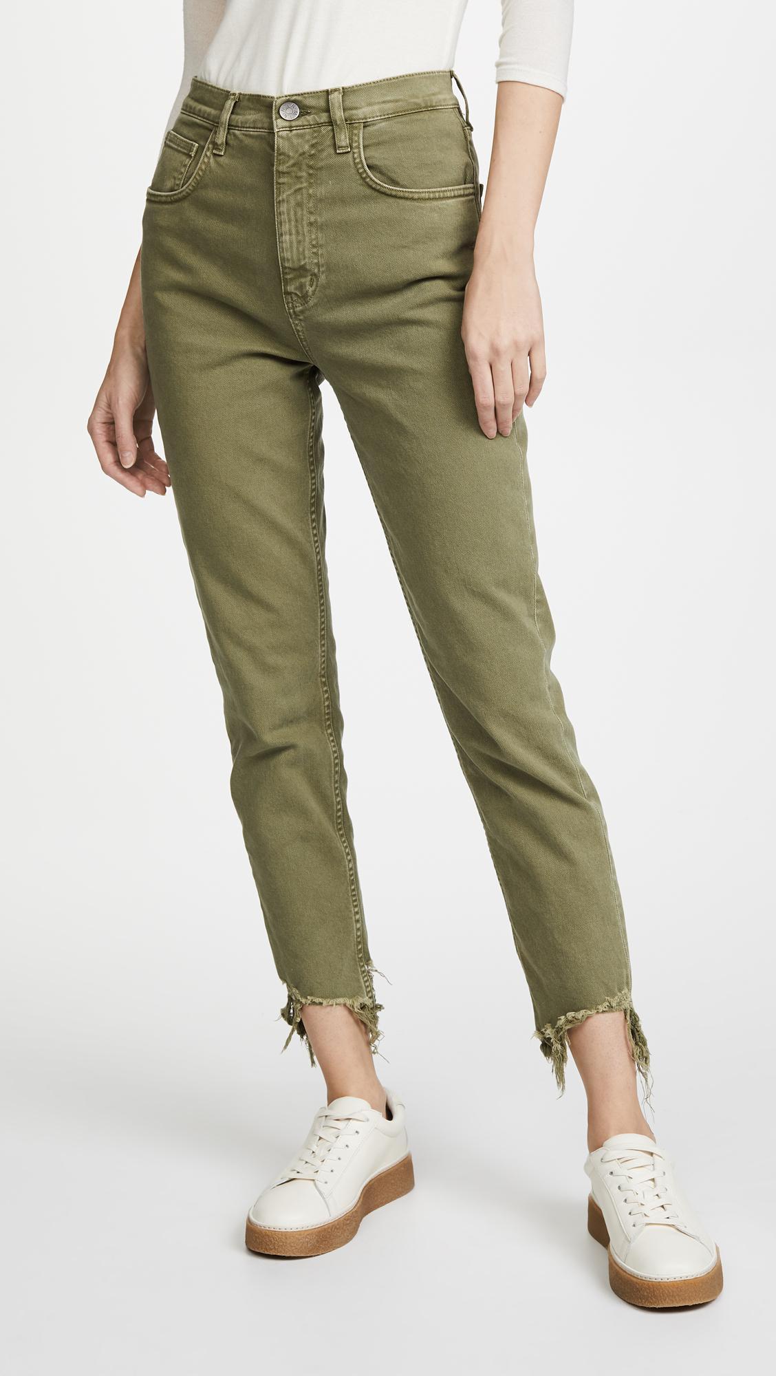 Jean Mih Mimi Haute Jean Mince Vintage Avec Ourlet Montée Cru - Jeans Mih Vert Nova nyGagrvMKK