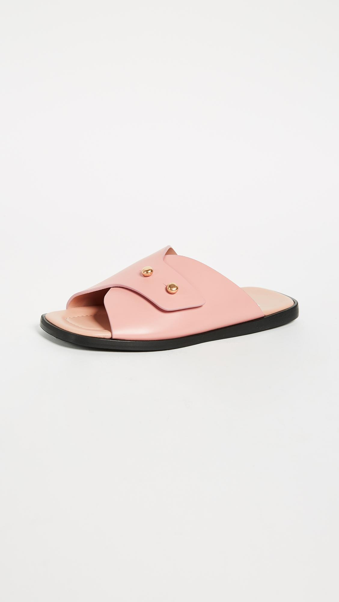 Jilly Slide Shoes in Pink Calfskin Acne Studios