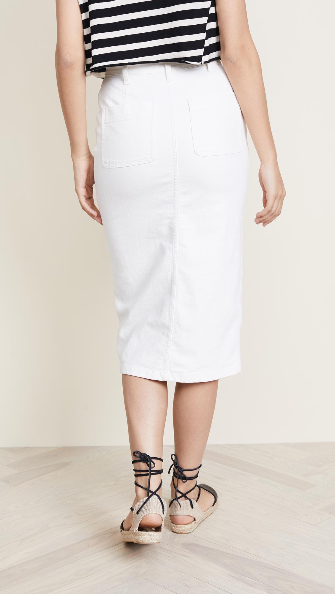 8b67dc2e24 Madewell High Slit Denim Midi Skirt in White - Lyst