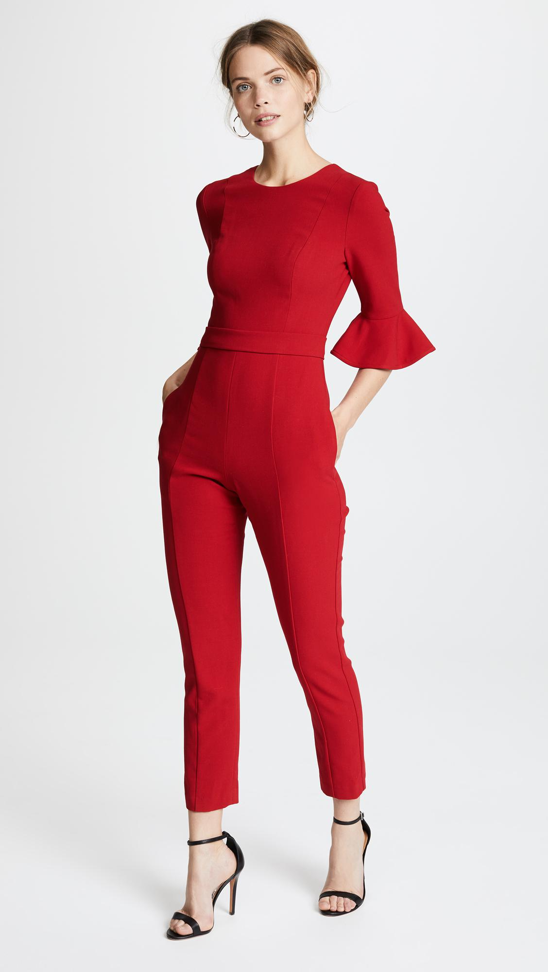 4930a1f65ed Lyst - Black Halo Brooklyn Cropped Jumpsuit in Red - Save 25%