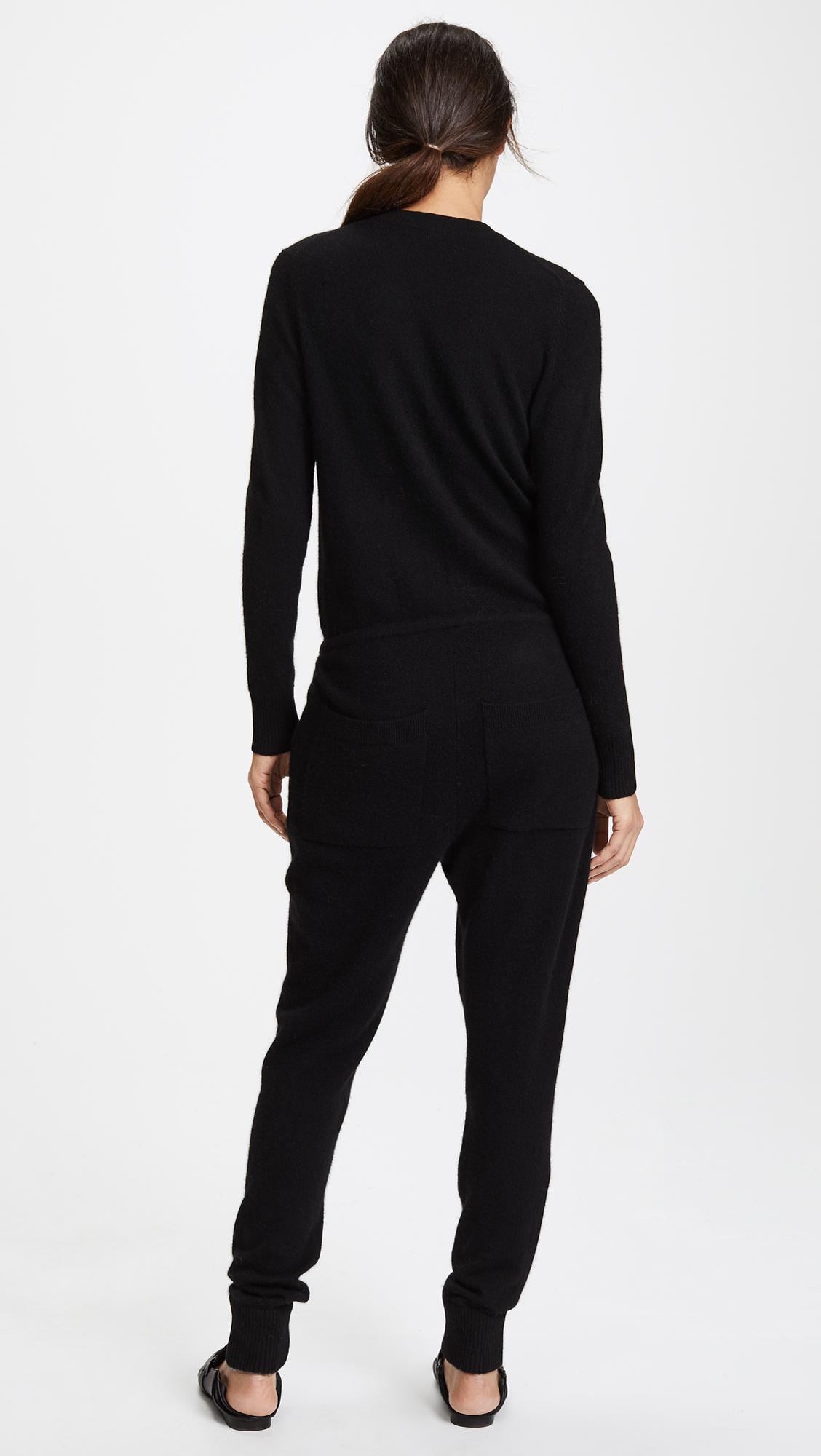 ae9714e7e53 Lyst - White + Warren Cashmere V Neck Jumpsuit in Black