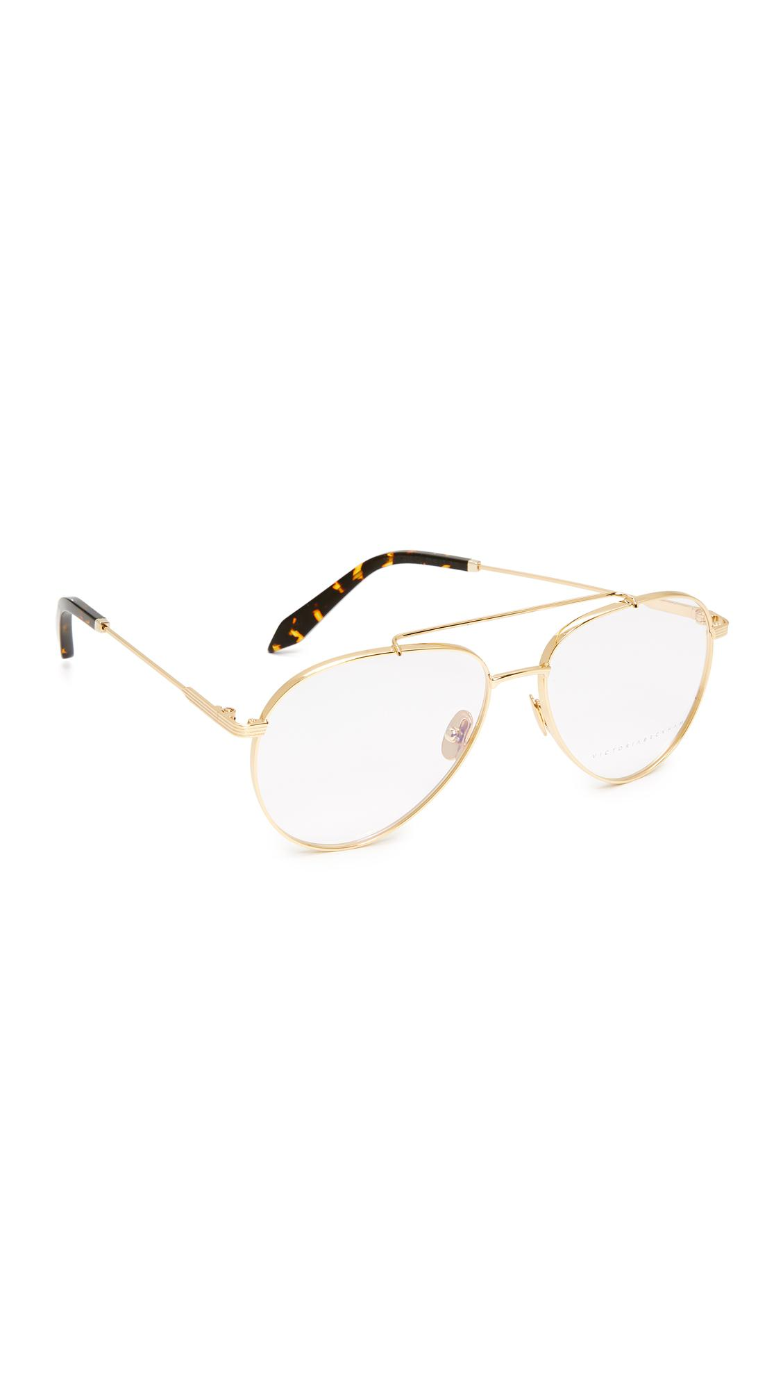 15088bf36f8 Lyst - Victoria Beckham Grooved Aviator Glasses in Metallic