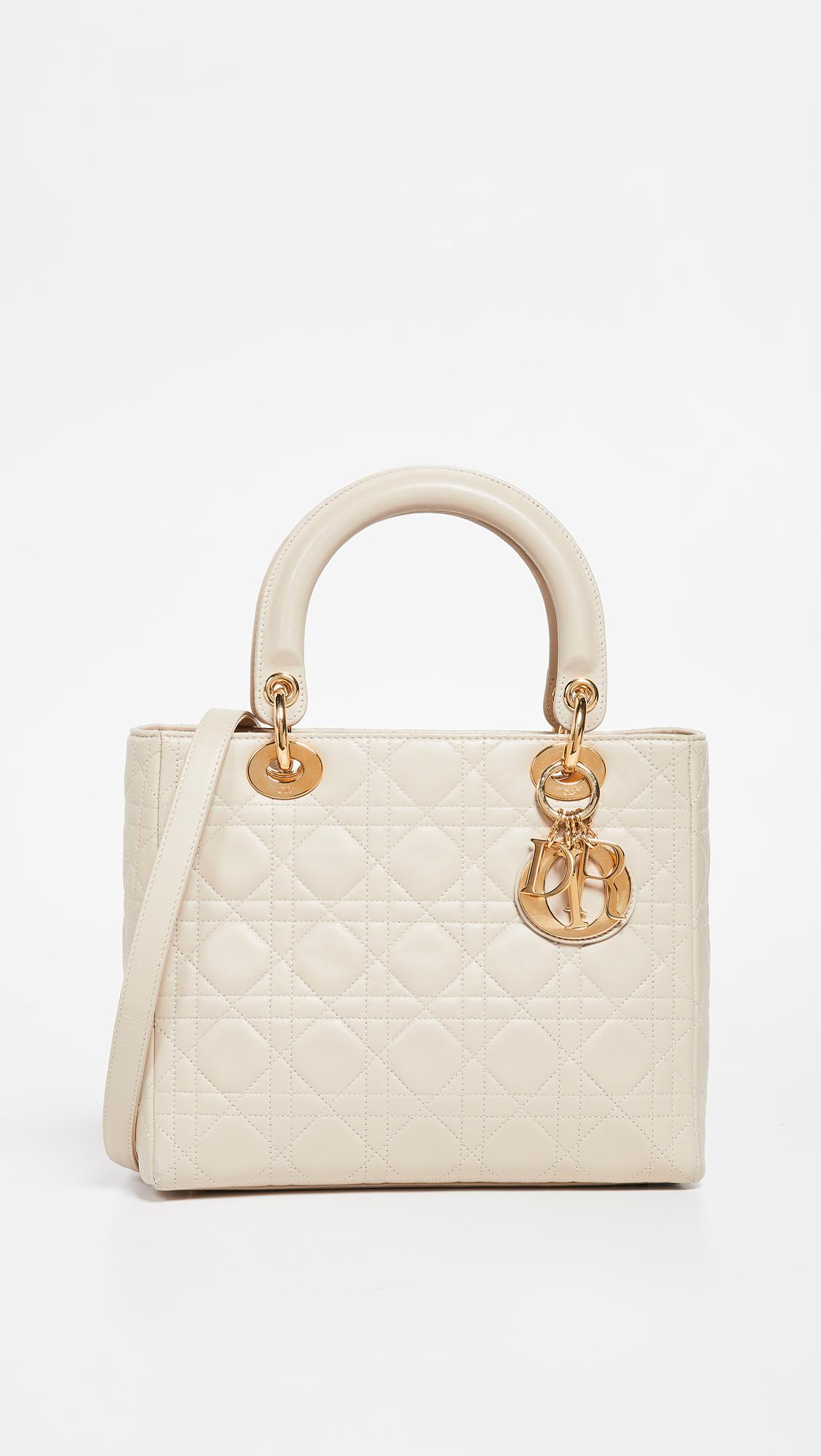 What Goes Around Comes Around Dior Medium Lady Dior Bag in Natural ... 9931c17d65522