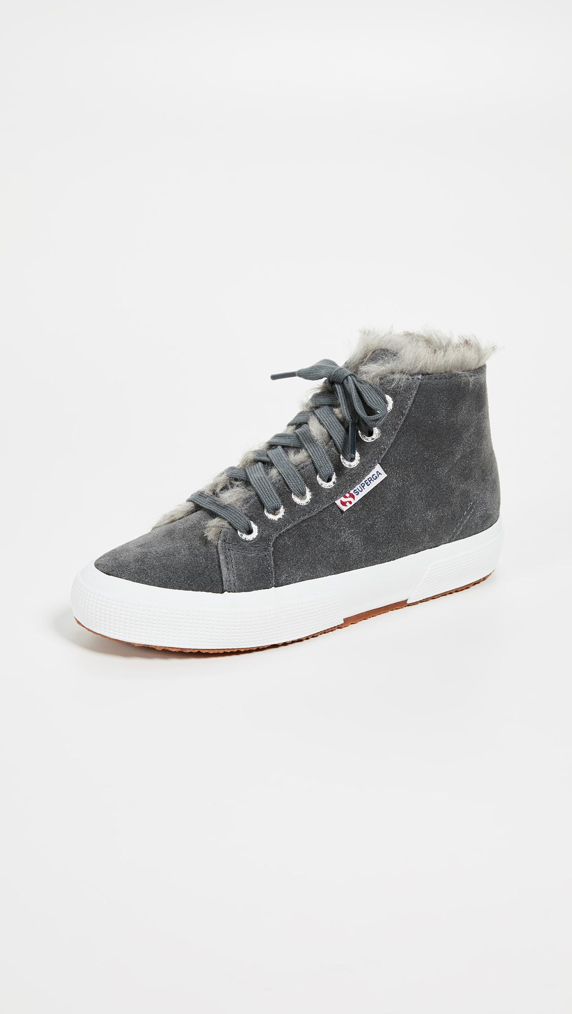 40f71d565dbf Superga 2795 Faux Fur Lined Sneakers in Gray - Lyst
