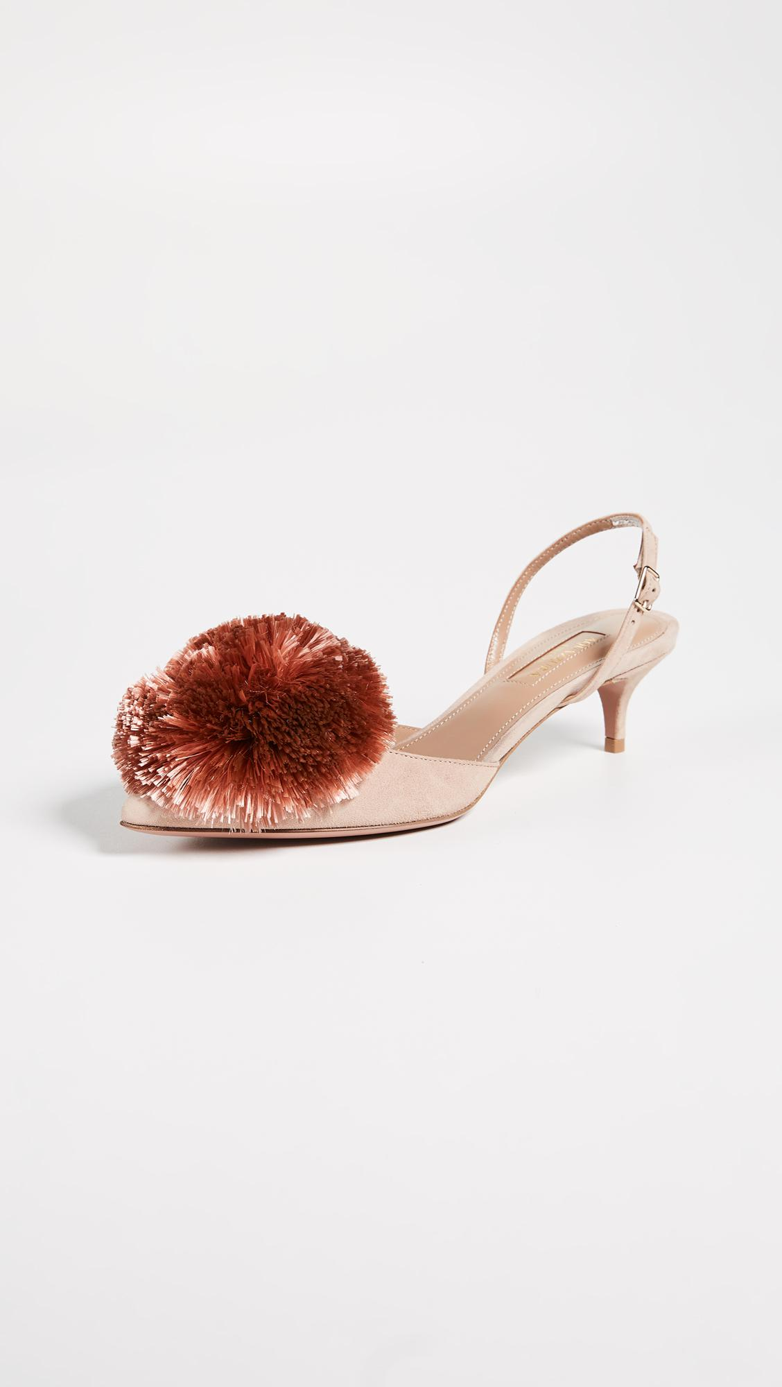 Puff Brandina.Aquazzura Powder Puff 45 Sling Pumps In Pink Lyst