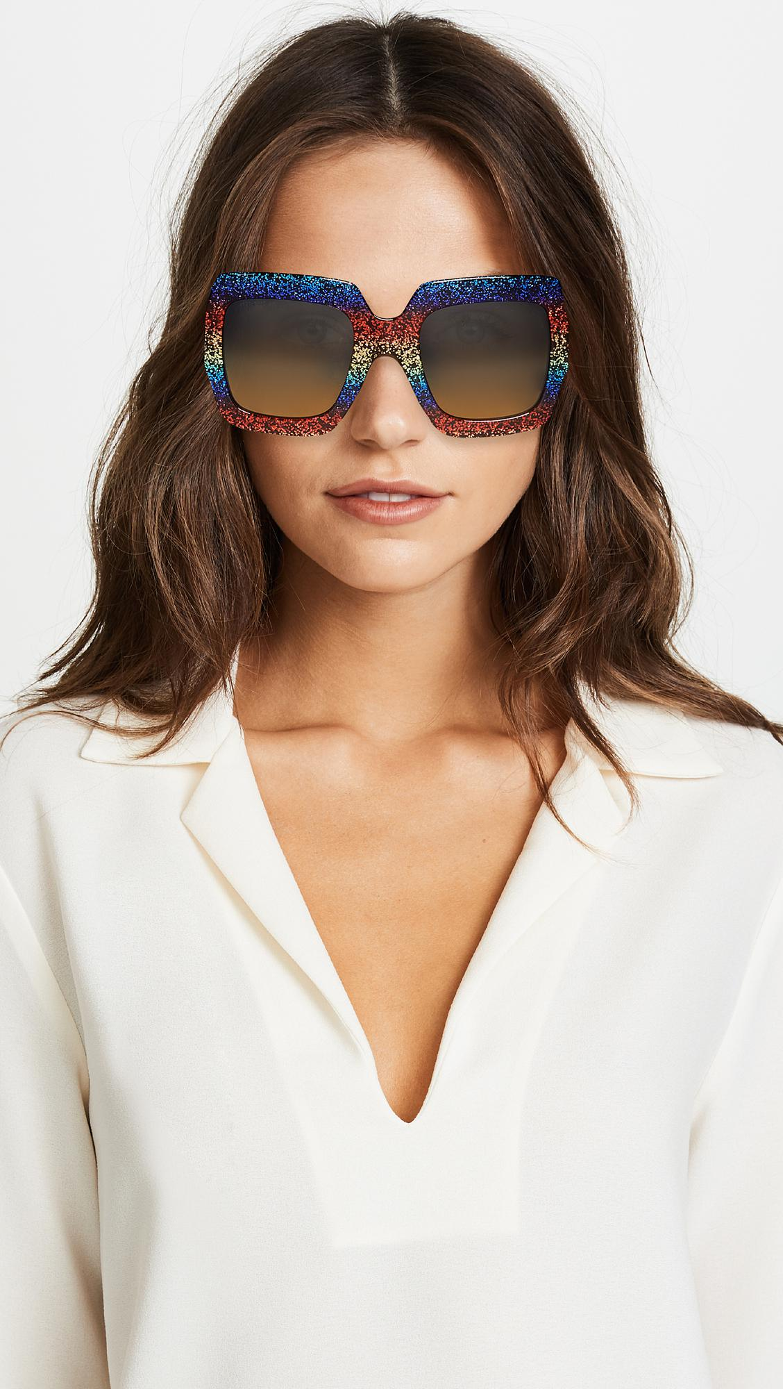 319e4142f Gucci - Multicolor Pop Glitter Iconic Oversized Square Sunglasses - Lyst.  View fullscreen