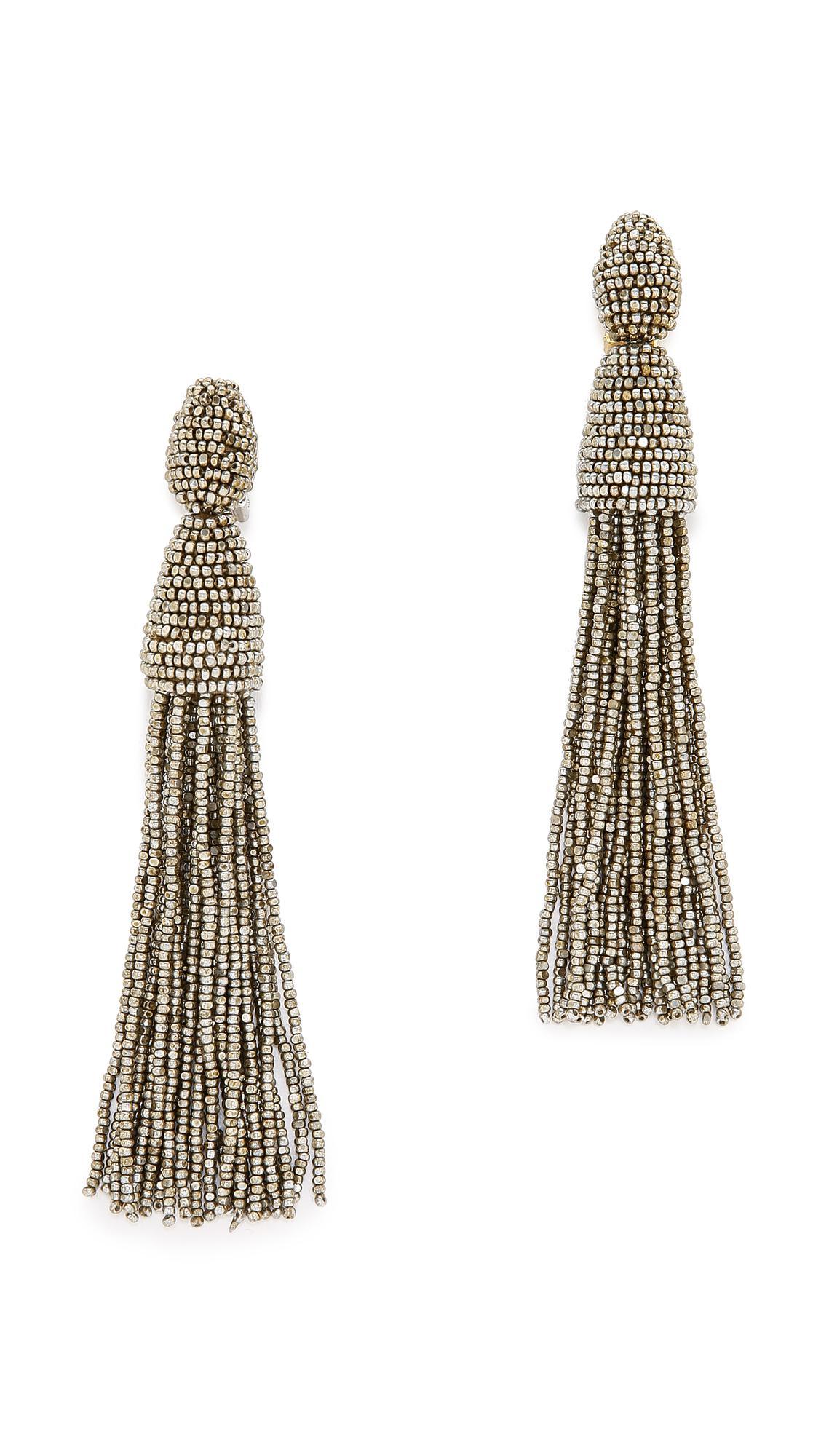 98ce65ff6b098 Lyst - Oscar de la Renta Tassel Earrings in Metallic