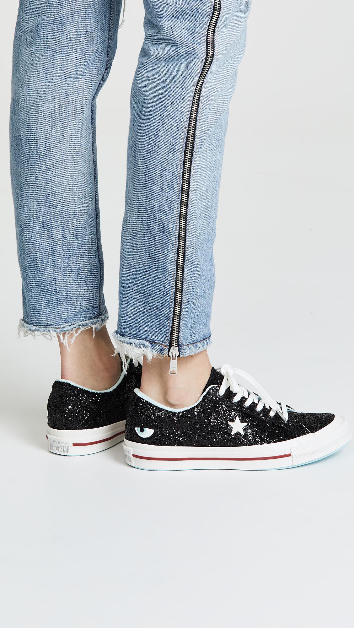 ffa64a7a9e5599 Lyst - Converse One Star X Chiara Ferragni Lace Up Sneakers in Black