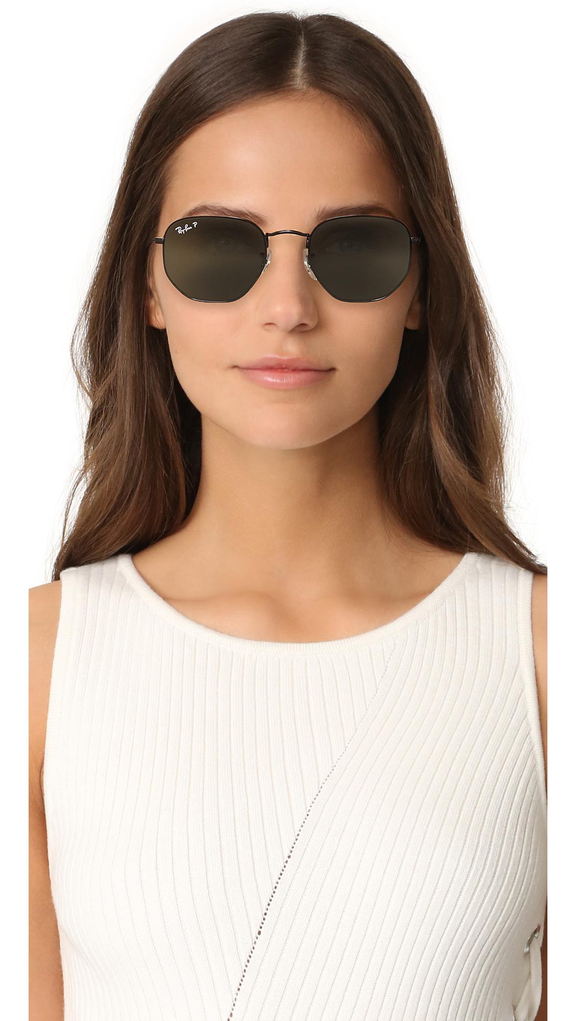 8355ef5aed ... promo code for ray ban gray polarized hexagonal sunglasses lyst. view  fullscreen 68259 0fdb3