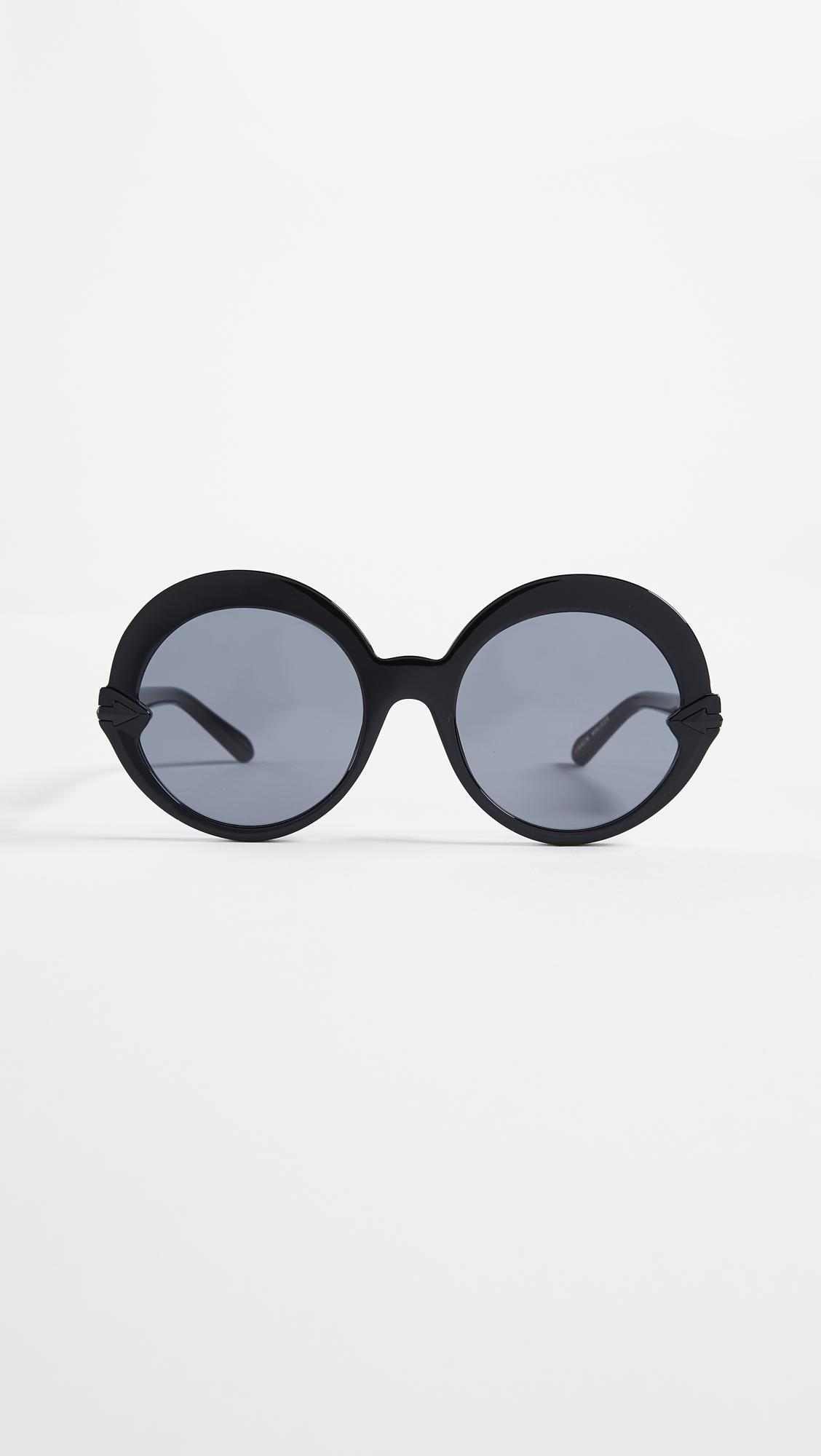 a57cb572ed Karen Walker Romancer Sunglasses in Black - Lyst