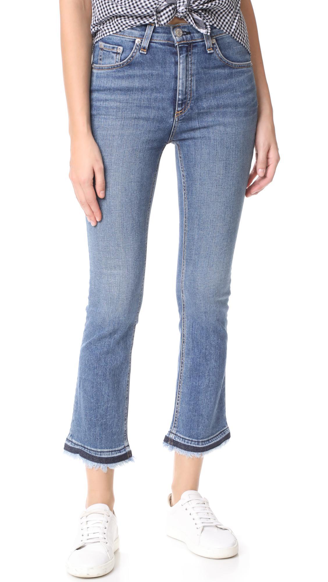 Hana Cropped Stretch-leather Bootcut Pants - Midnight blue Rag & Bone UaqyFFS4nr