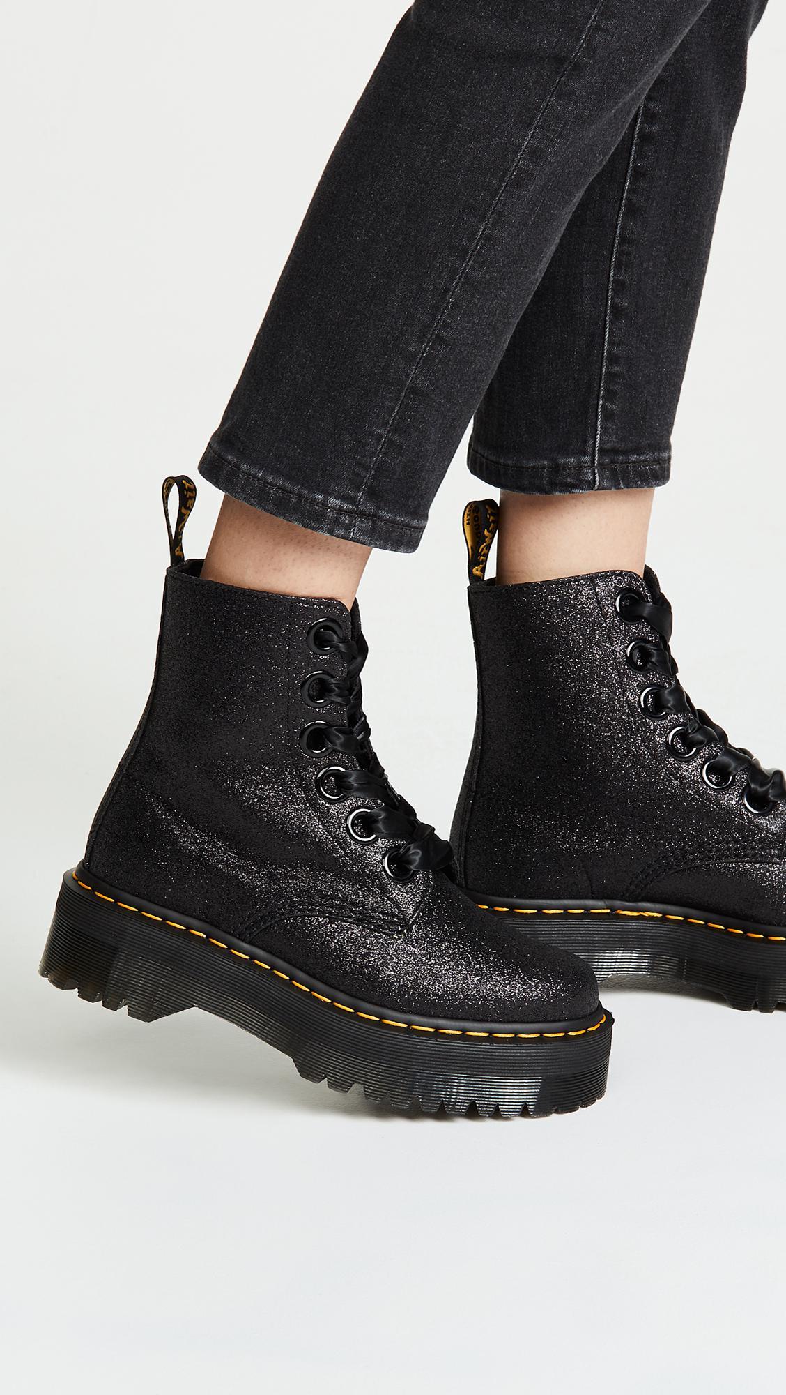 978c374ae Dr. Martens Molly Glitter 6 Eye Boots in Black - Lyst