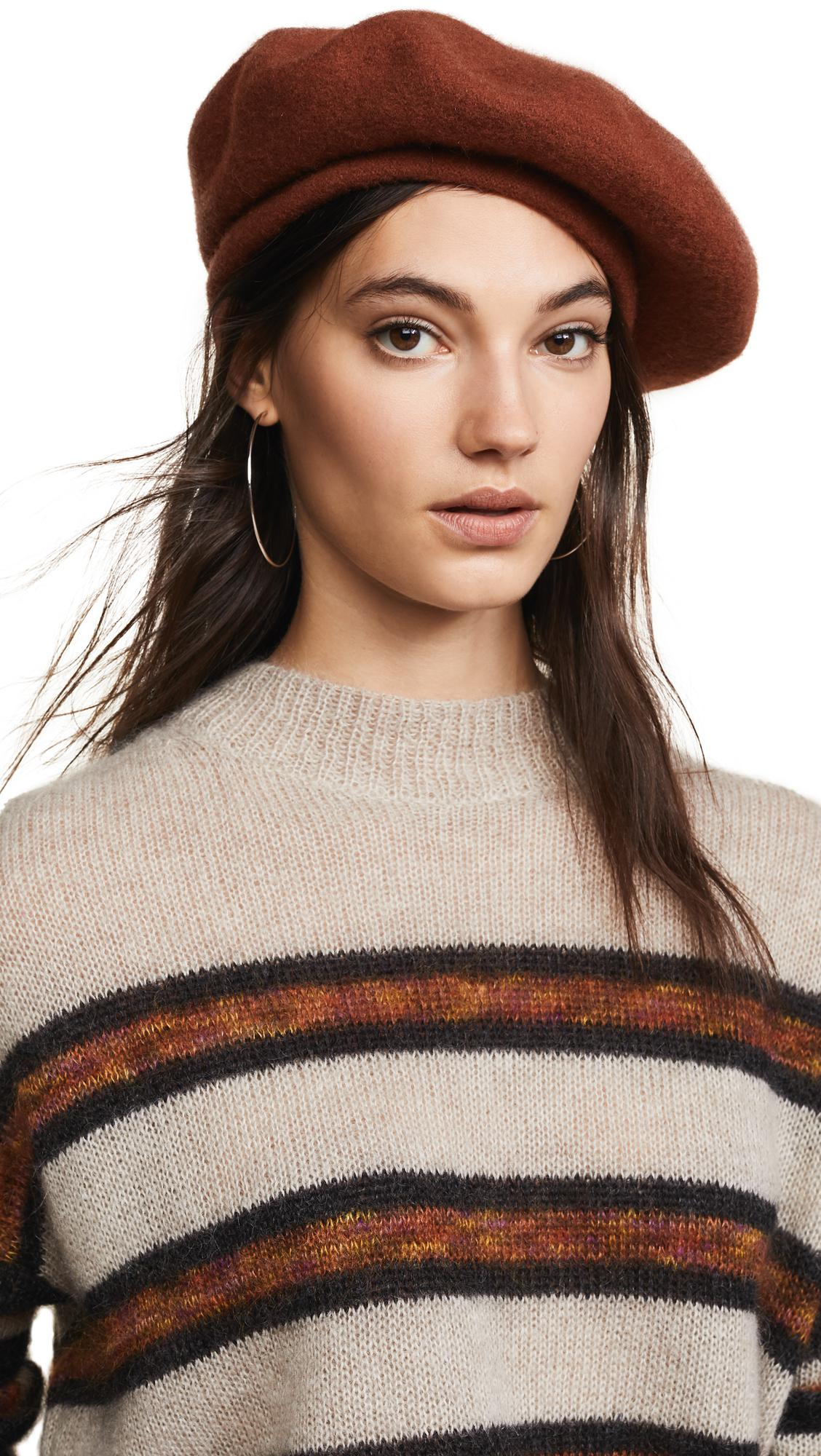 Brixton Audrey Beret Hat in Brown - Lyst fdc3eed166da