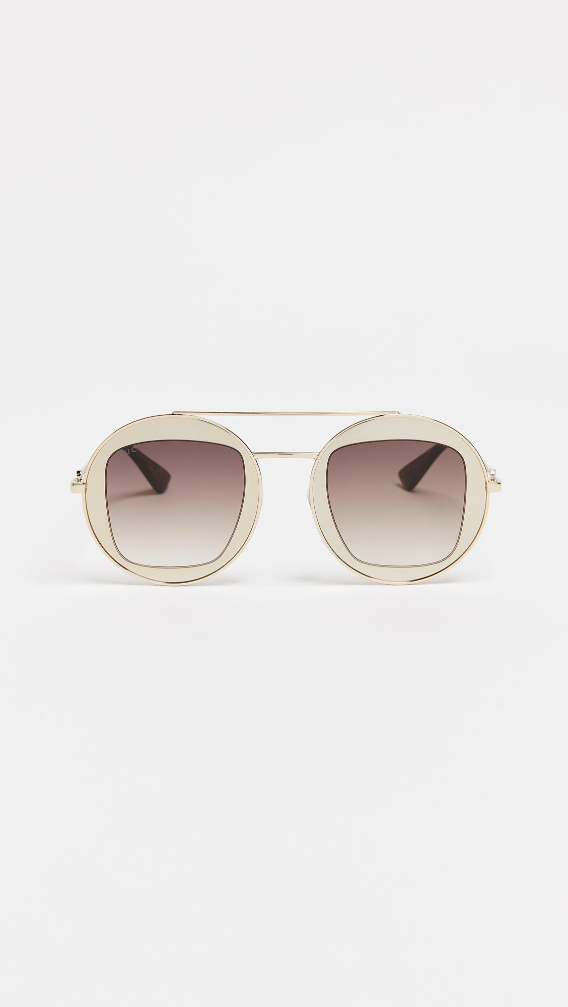 020b0348f0d Gucci Urban Round Sunglasses in Metallic - Lyst