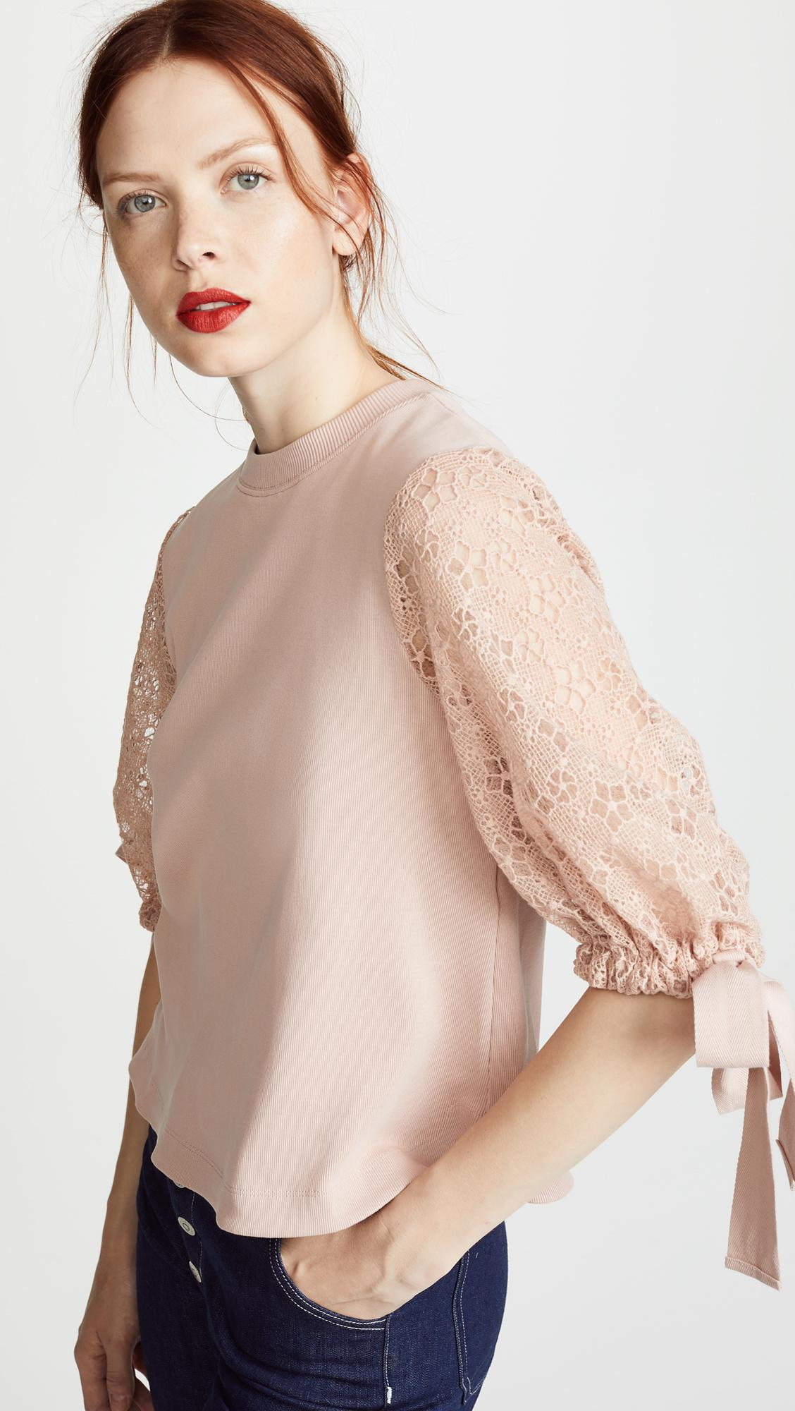 b582d7672dd0a Lyst - See By Chloé Lace Puff Sleeve Top in Pink