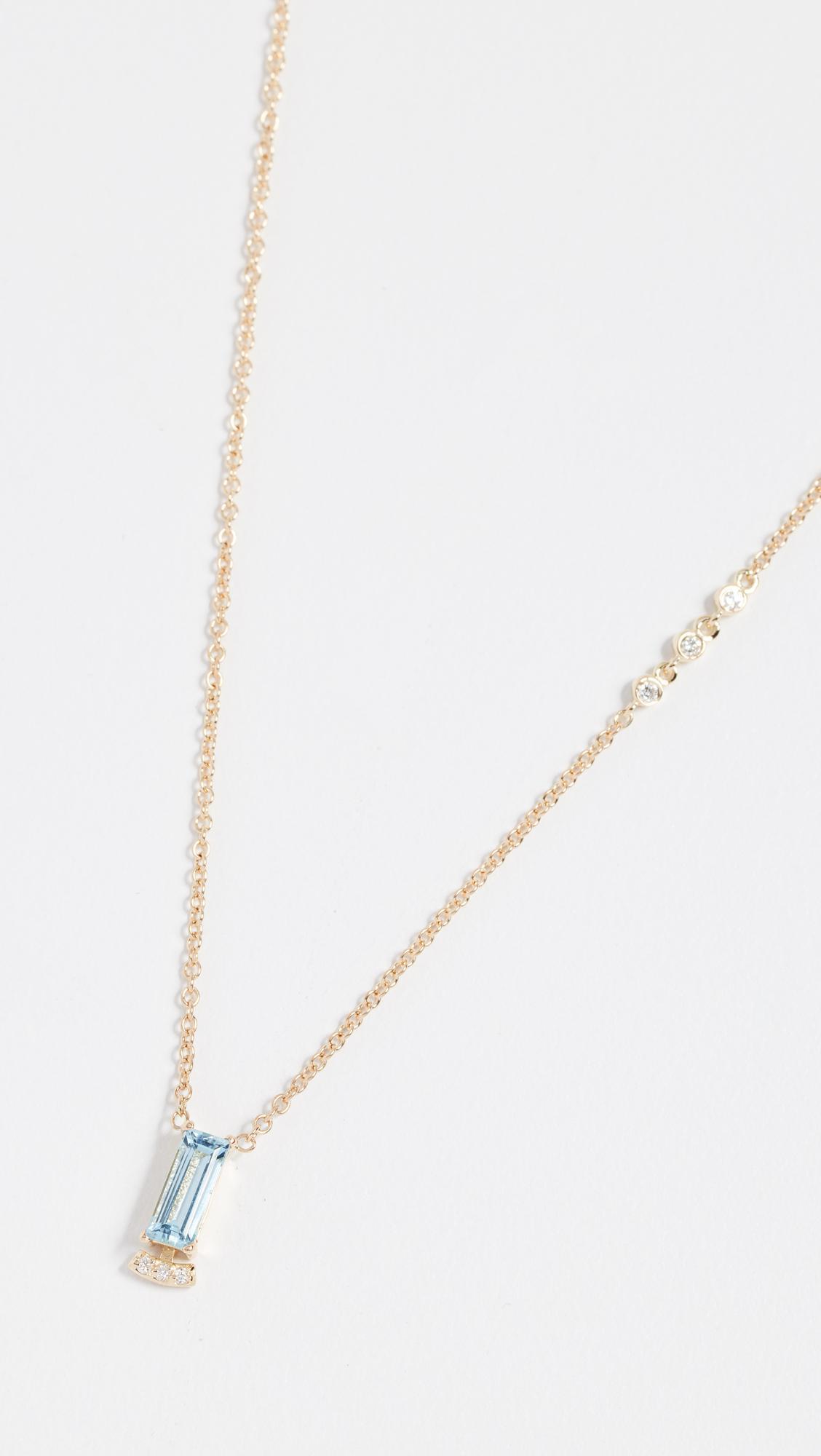 Paige Novick 18k Necklace with Baguette Gemstone & Pave Diamond Bar anzux8t6E