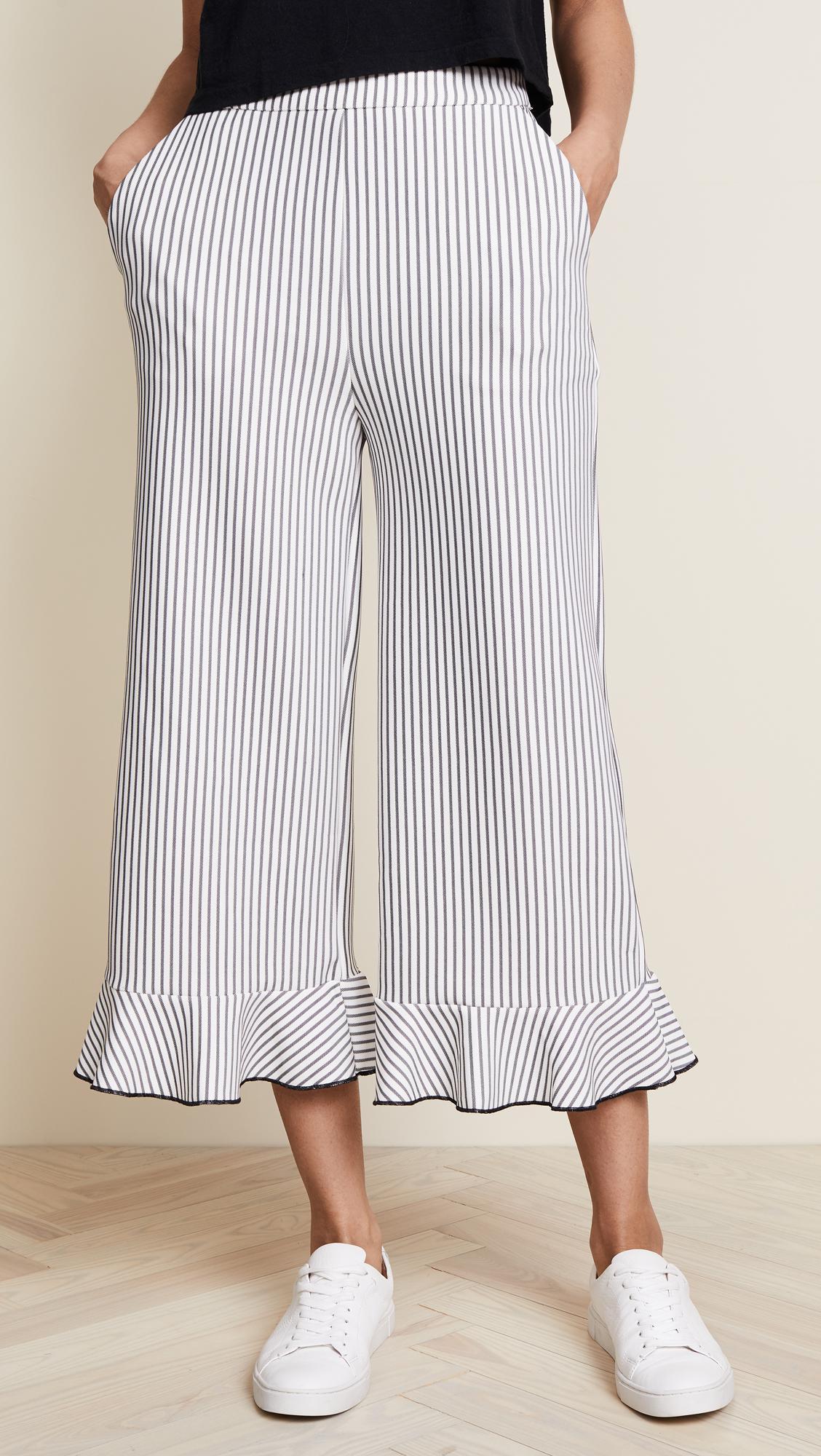 Lowest Price Online Footlocker Finishline Cheap Online Womens Stripe Ruffled Hem Trousers English Factory Mw8c9