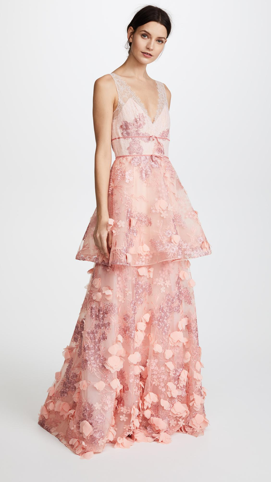 Notte By Marchesa Sleeveless Two Tiered Gown In Pink Lyst