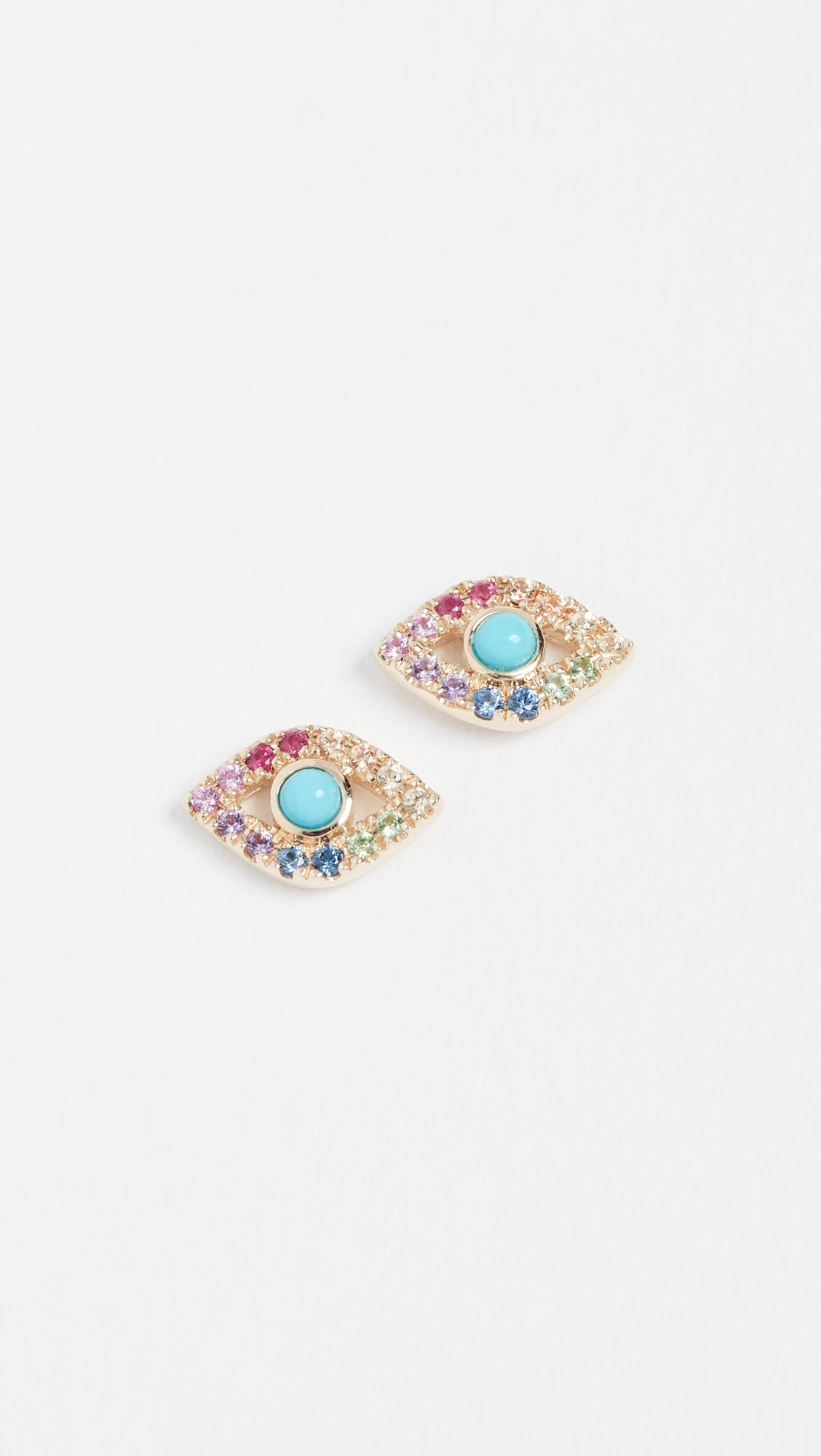 720e79237 Sydney Evan Rainbow Small Evil Eye Studs - Lyst