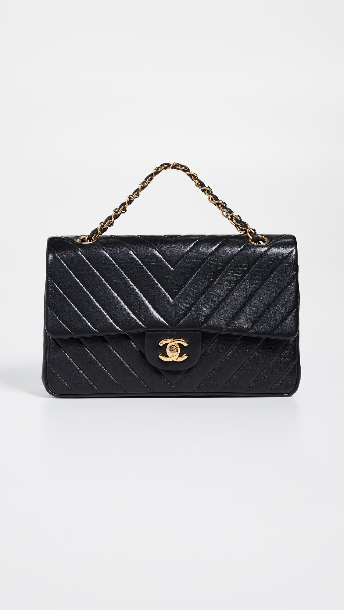 7f2611c9e97 What Goes Around Comes Around Chanel Chevron Flap Bag in Black - Lyst
