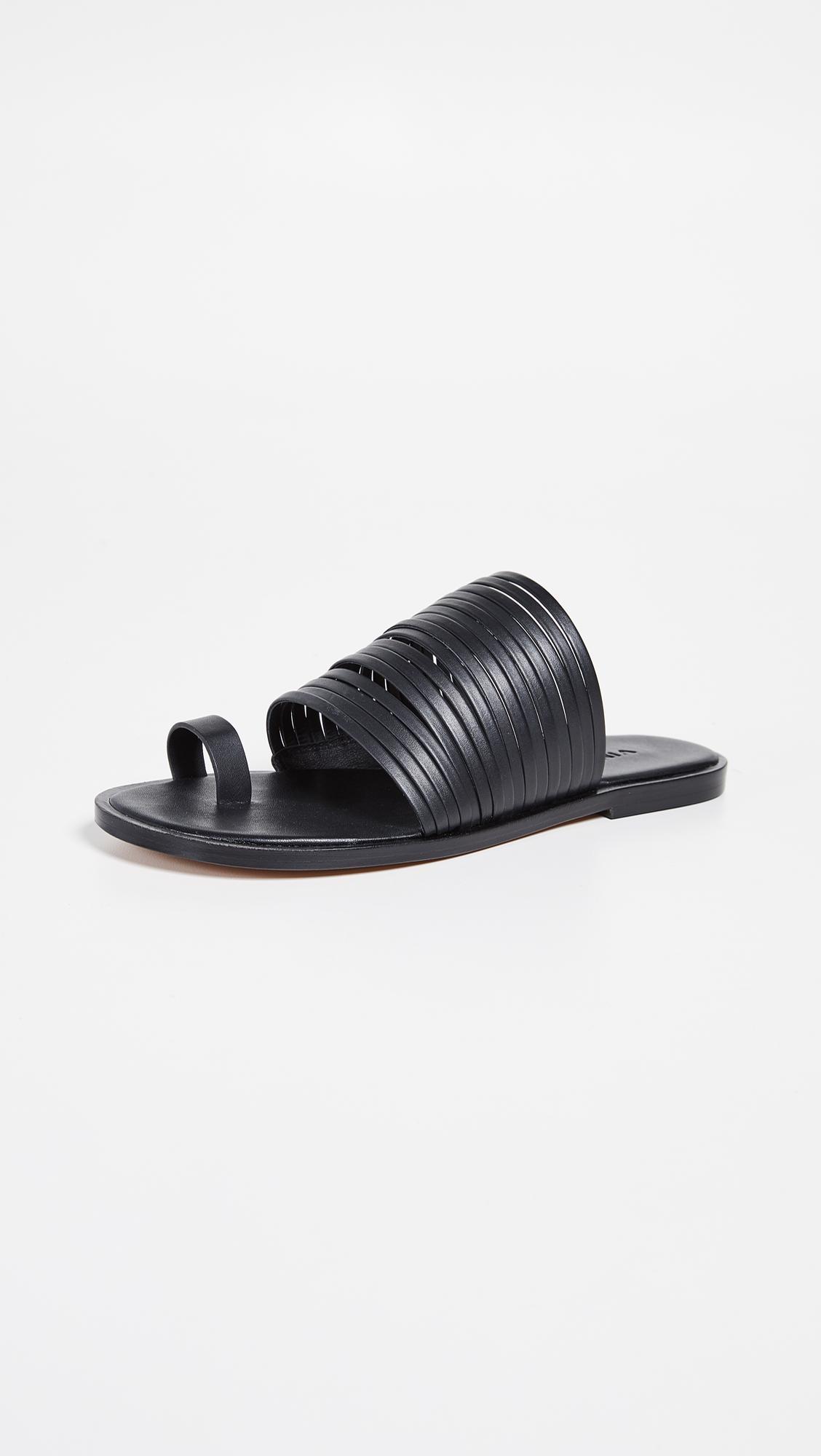 b97e5f8742e Lyst - Vince Penrose Toe Ring Slides in Black