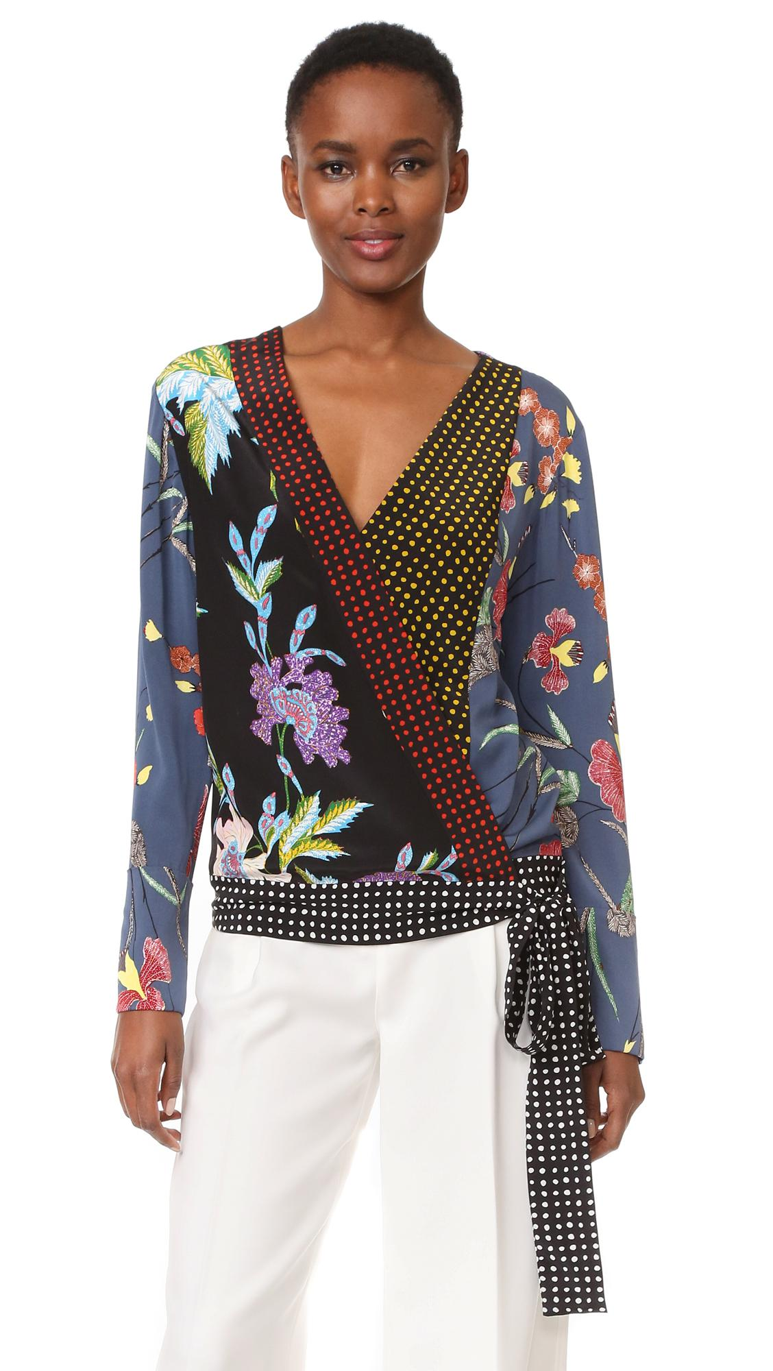 88a67c3722176e Lyst - Diane Von Furstenberg Long Sleeve Crossover Blouse