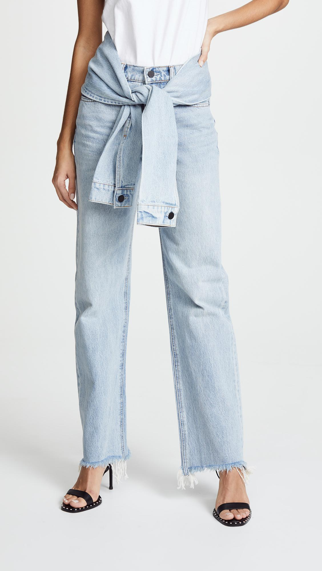 Stack Tie Tie-front Distressed High-rise Straight-leg Jeans - Light denim Alexander Wang yKzdr8l