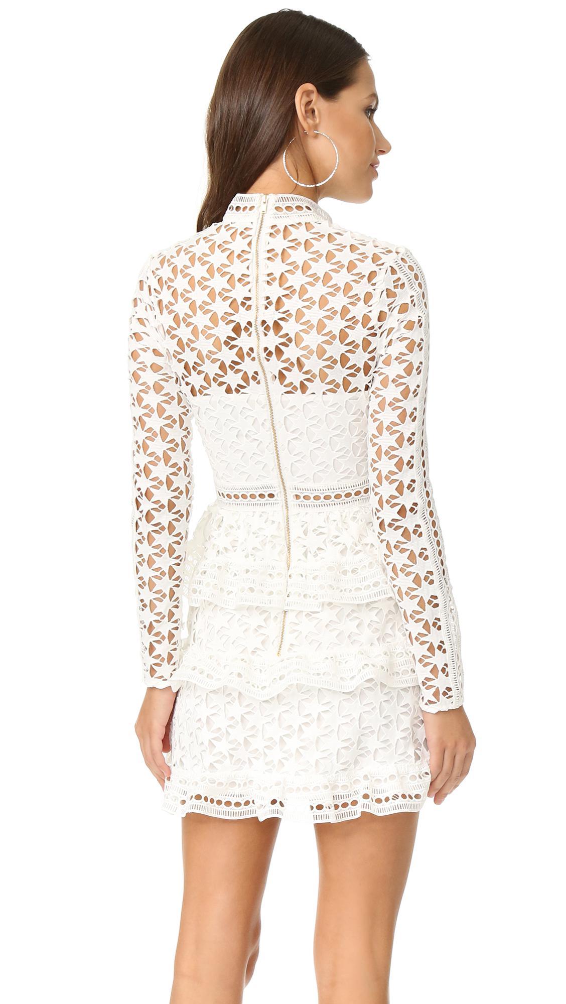 f59663c781c Self-Portrait High Neck Star Lace Dress in White - Lyst