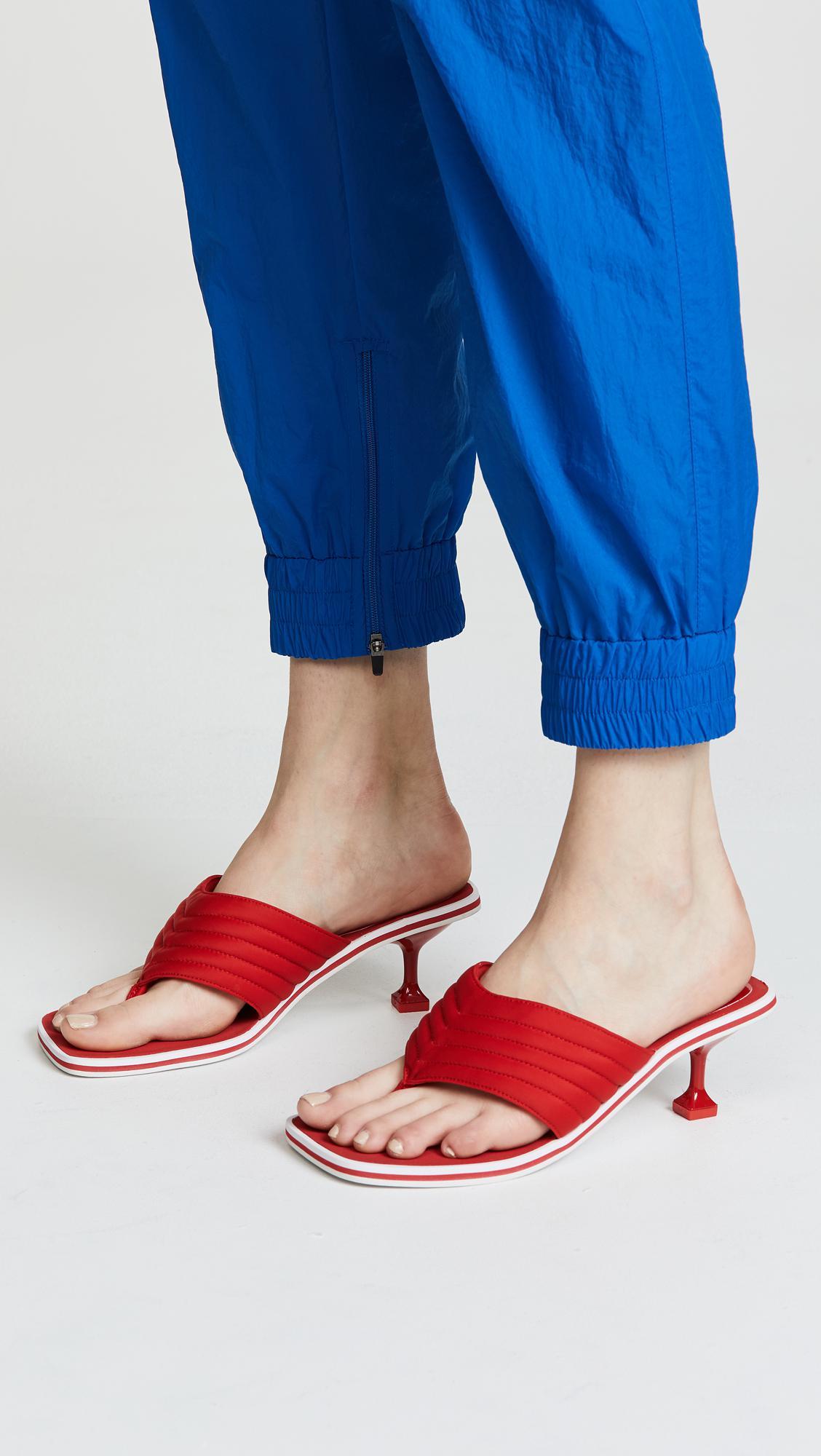 7f084f97bceae Lyst - Jeffrey Campbell Overtime Kitten Heel Flip Flops in Red