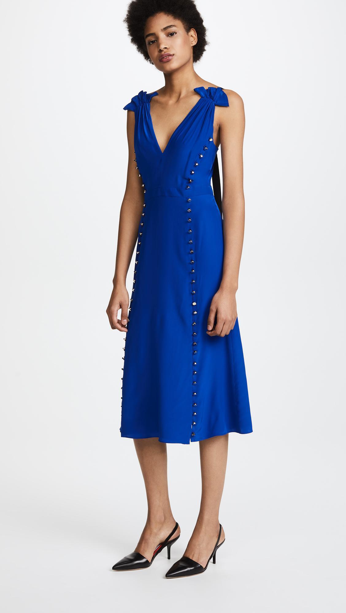 Lyst - Prabal Gurung Deep V Dress With Button Detail in Blue f22e92927