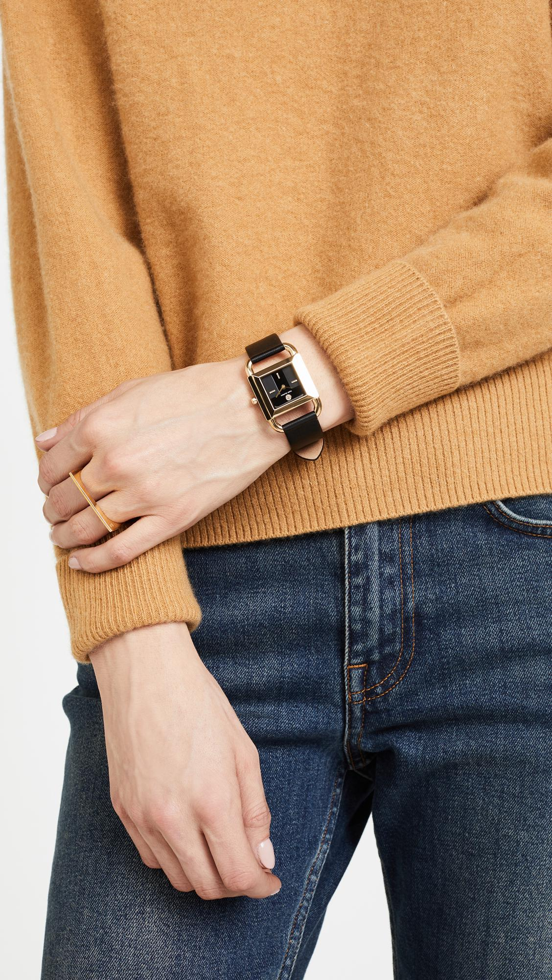 6974f0ff9cb6 Lyst - Tory Burch The Phipps Leather Watch