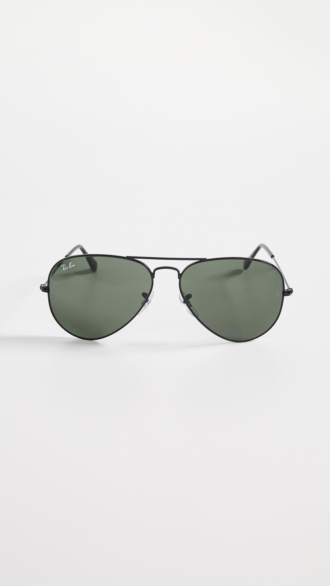 6ecdeade4bf Ray-Ban. Women s Black Rb3025 Oversized Classic Aviator Polarized Sunglasses