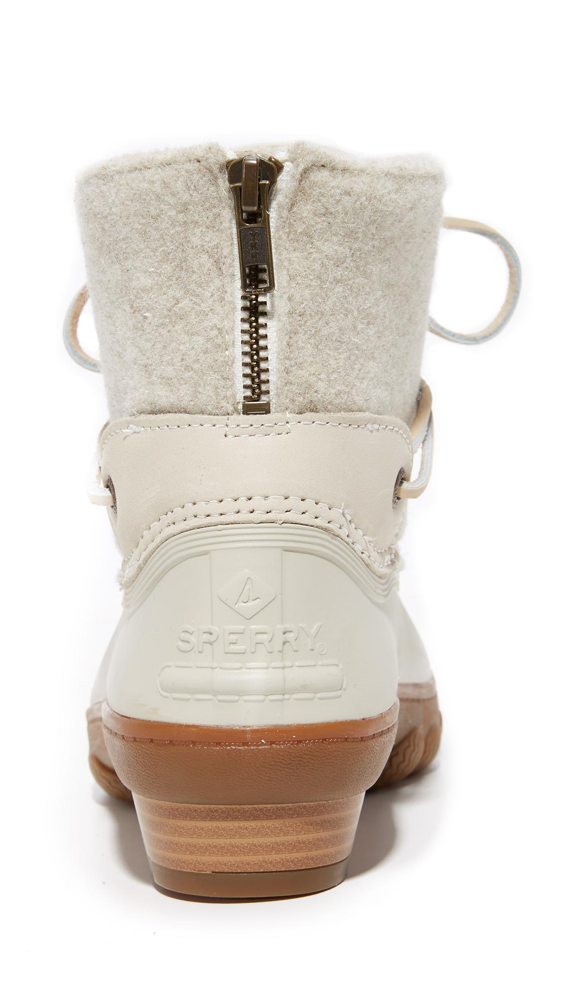 5c67d0161fb0 Lyst - Sperry Top-Sider Saltwater Wedge Tide Wool Booties in White