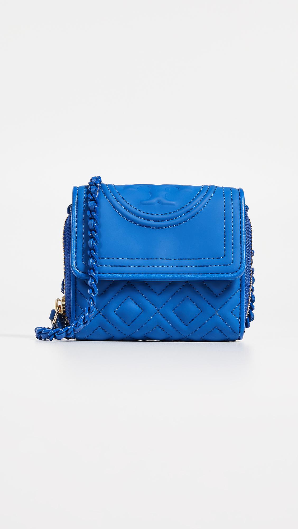 65f75d9891e2 Lyst - Tory Burch Fleming Matte Mini Chain Wallet in Blue