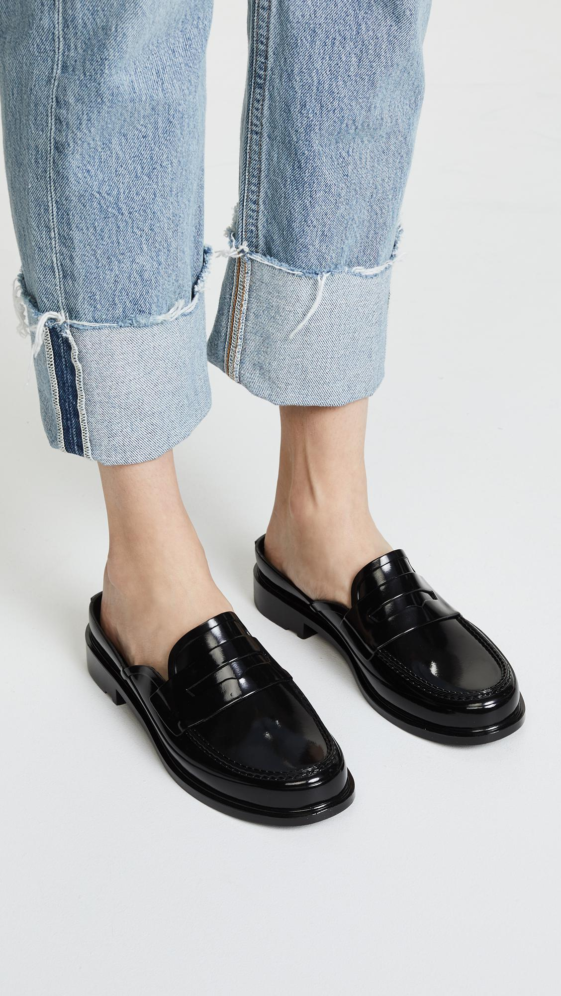 203df017422 Lyst - HUNTER Backless Gloss Penny Loafers in Black
