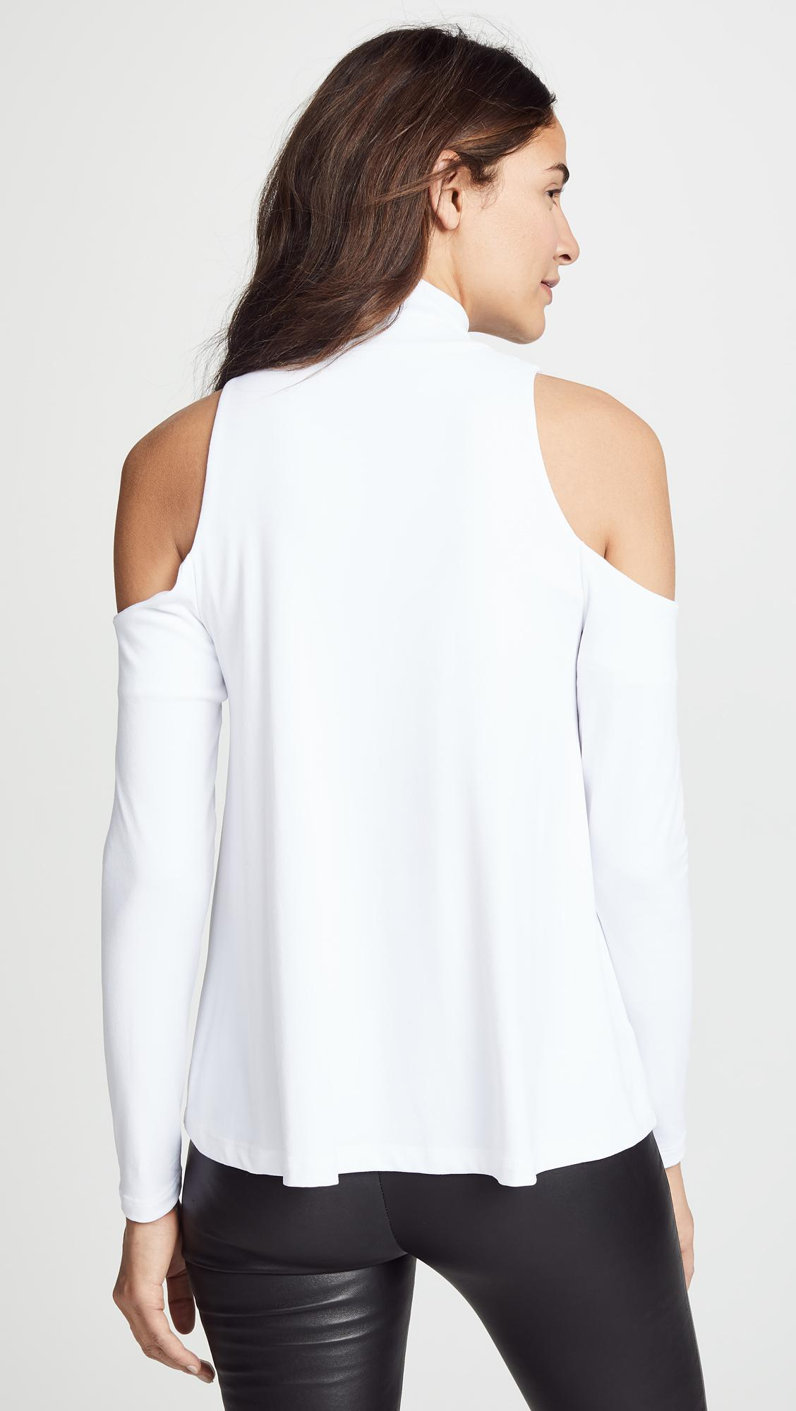 9a581db6d2658 Susana Monaco - White Cold Shoulder Swing Top - Lyst. View fullscreen