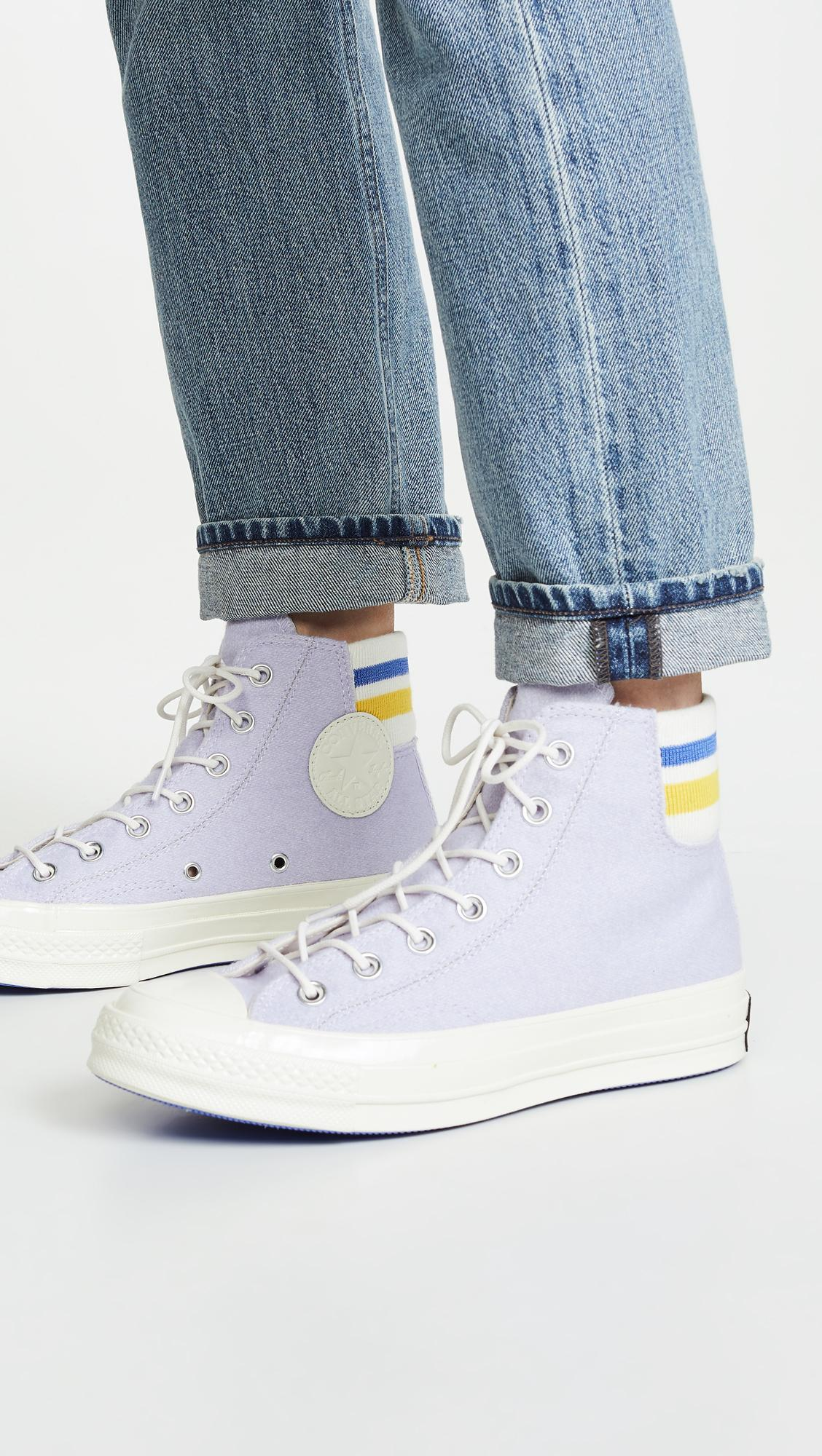 19ebe9bb230681 Lyst - Converse Chuck 70 Retro Stripe High Top Sneakers