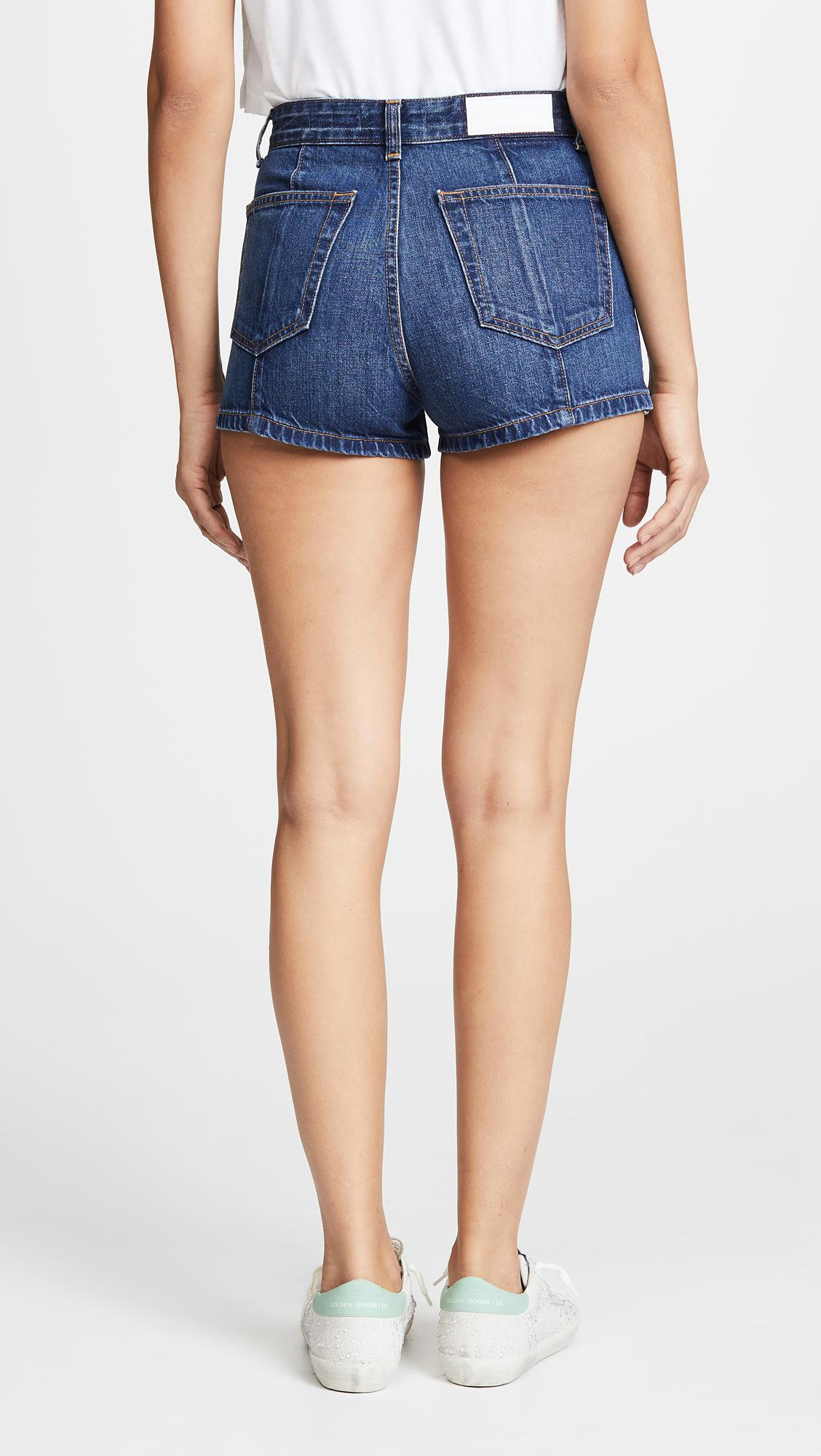 1ef73a853aed5 Lyst - RE DONE High Darted Button Tab Shorts in Blue
