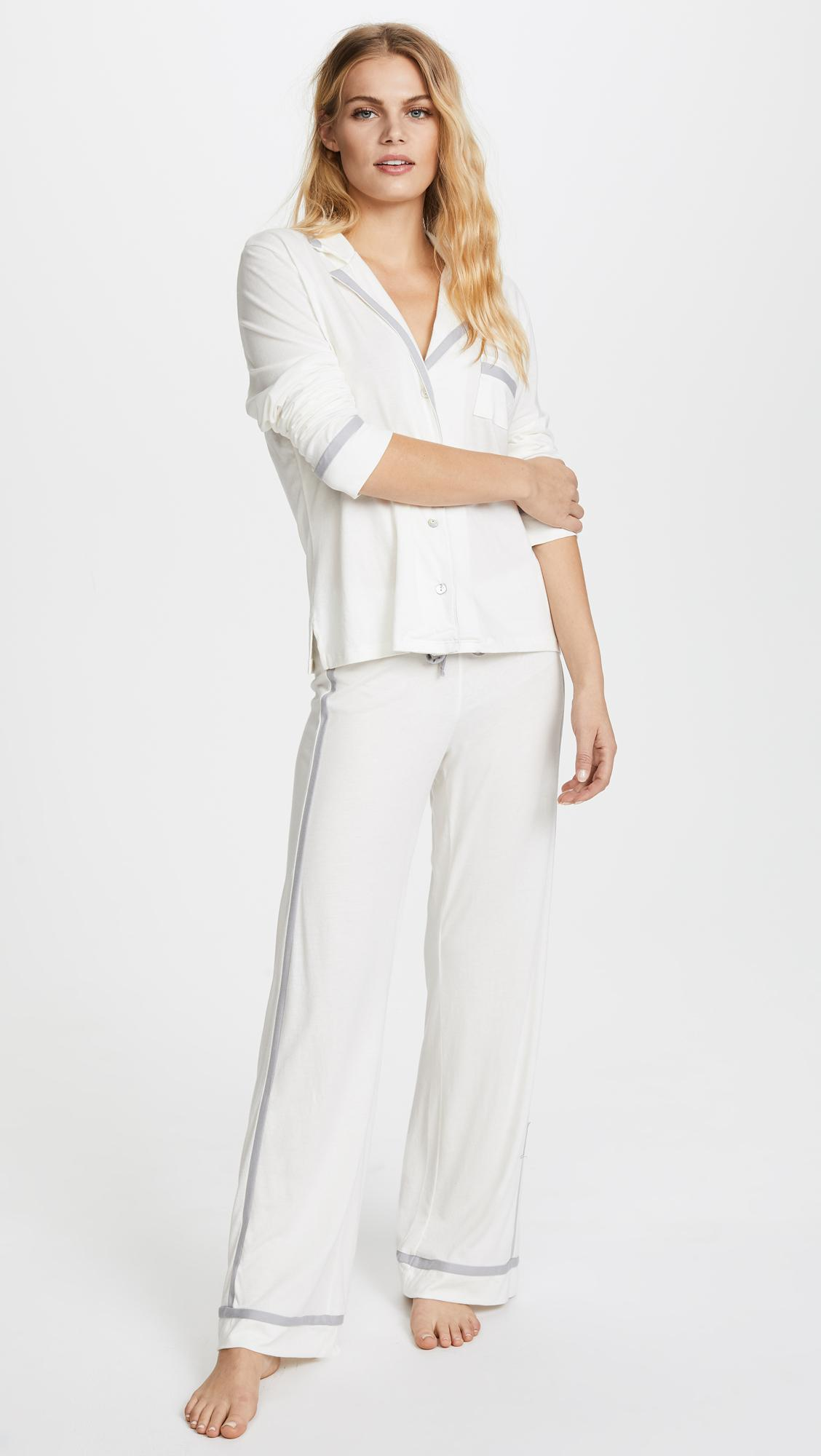 Cosabella. Women's White Bella Longsleeve Top & Pant Pj Set