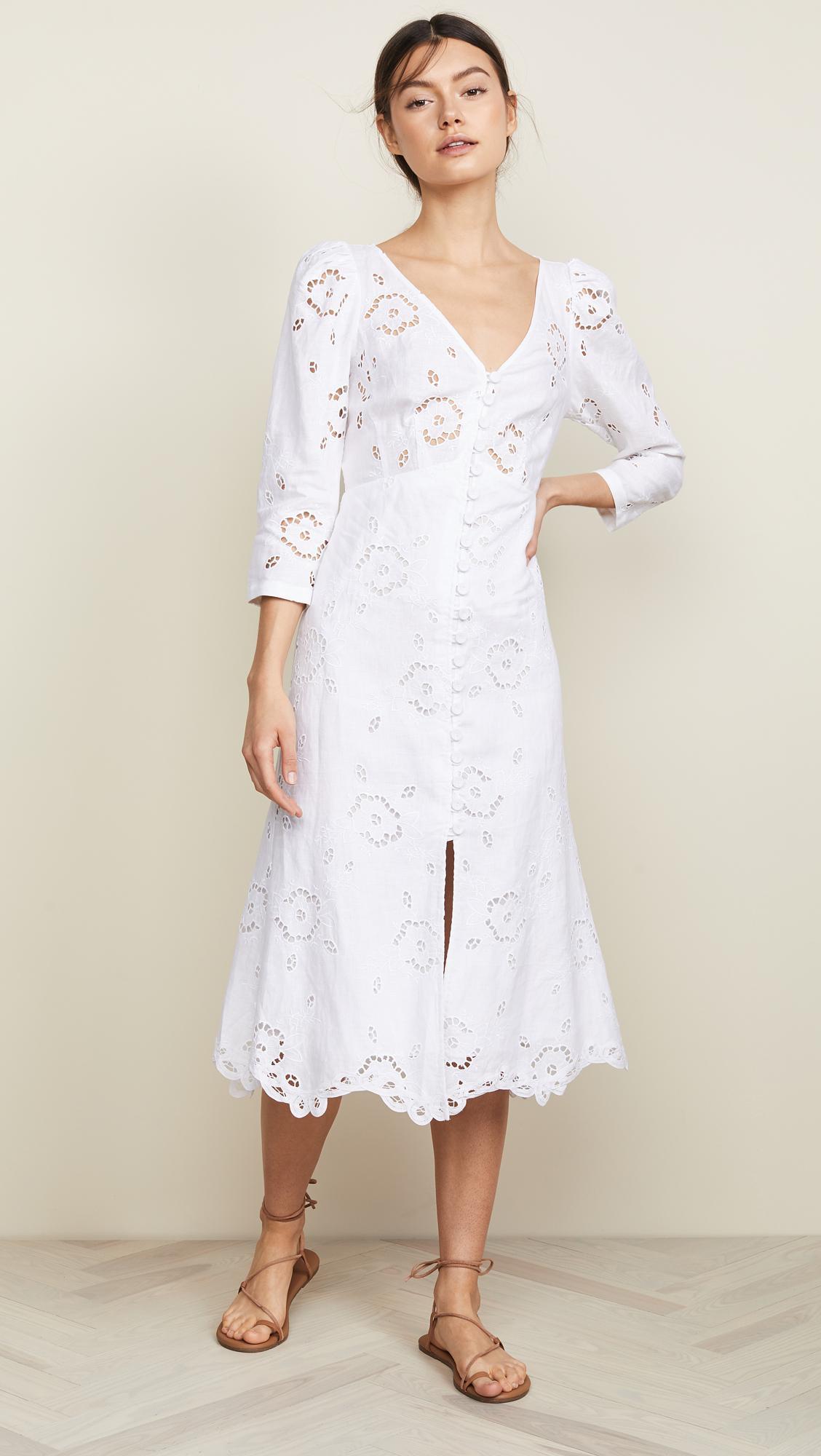 17903548ce Lyst - Rebecca Taylor Linen Terri Dress in White