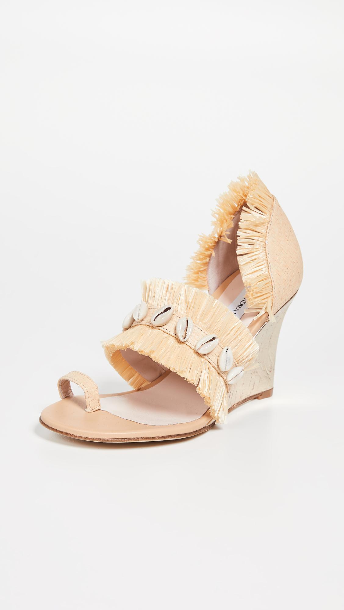 a51cf132c284 Lyst - LEANDRA MEDINE Raffia Fringe Wedge Sandals in Natural