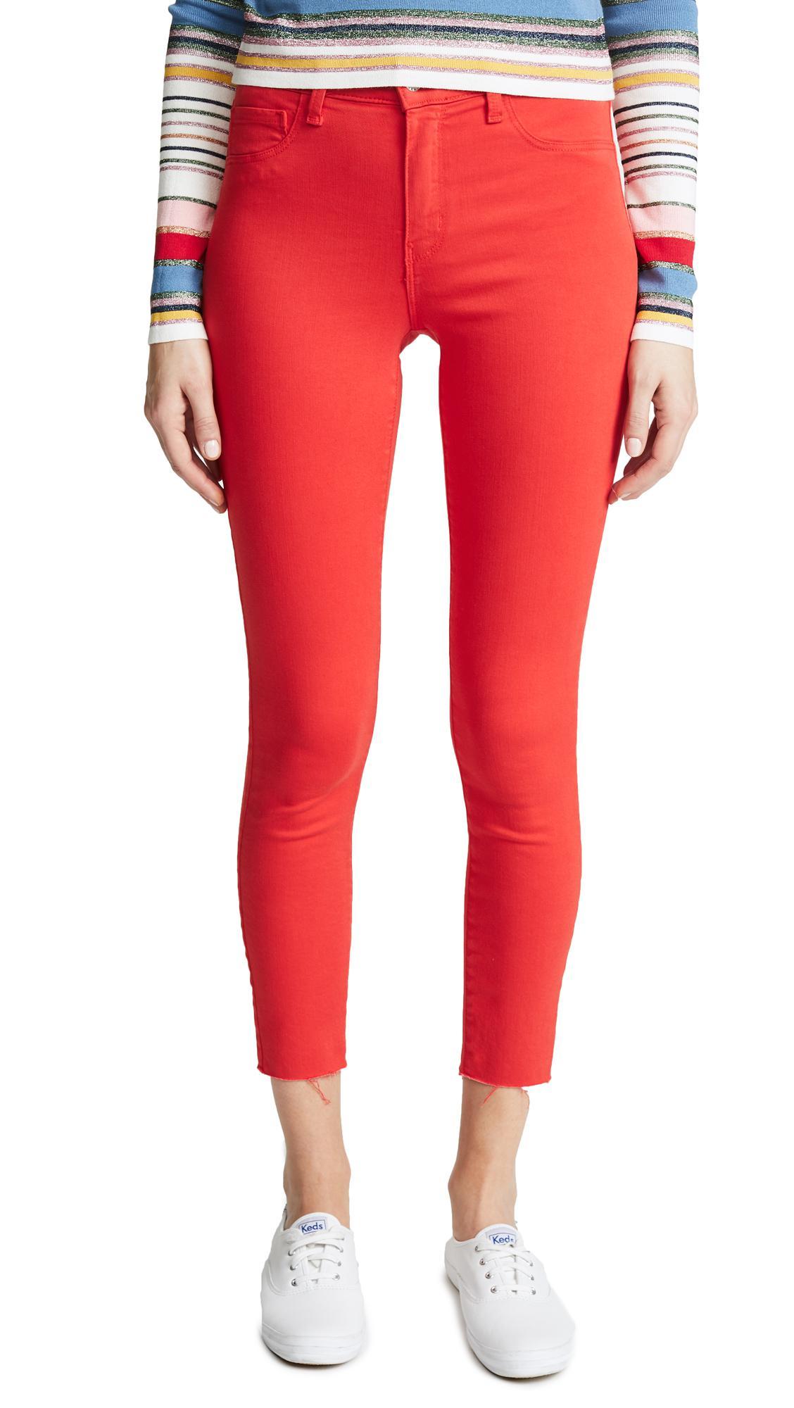 6da0e55f0b L Agence Margot High Rise Skinny Jeans in Red - Lyst