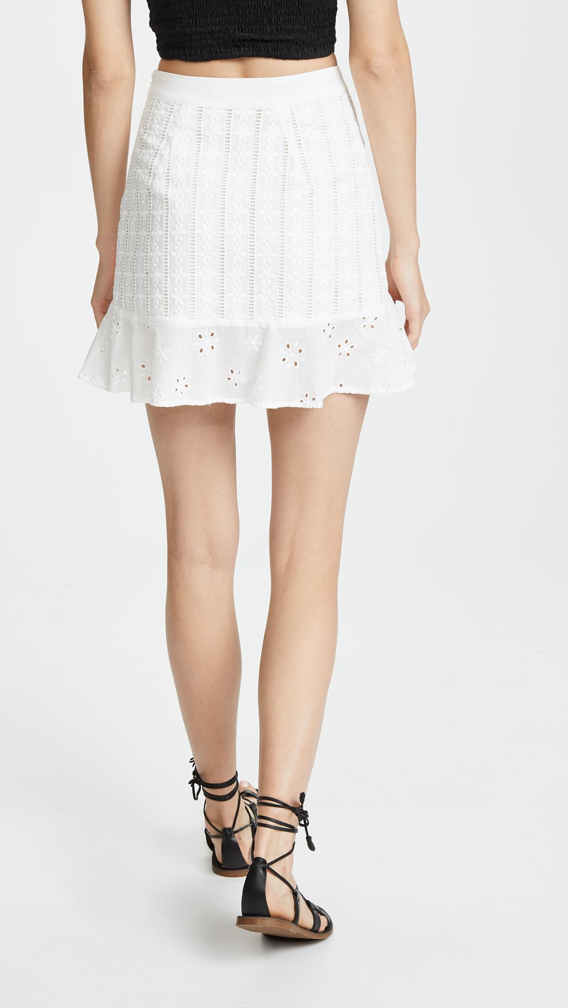 6ff13f000e84 For Love & Lemons Hermosa Eyelet Miniskirt in White - Lyst
