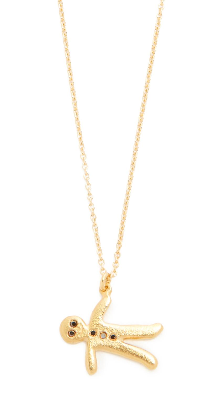 Alex monroe Gingerbread Man Necklace in Metallic