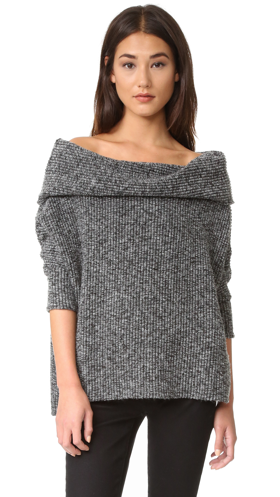 Lyst Bobi Off Shoulder Sweater In Black